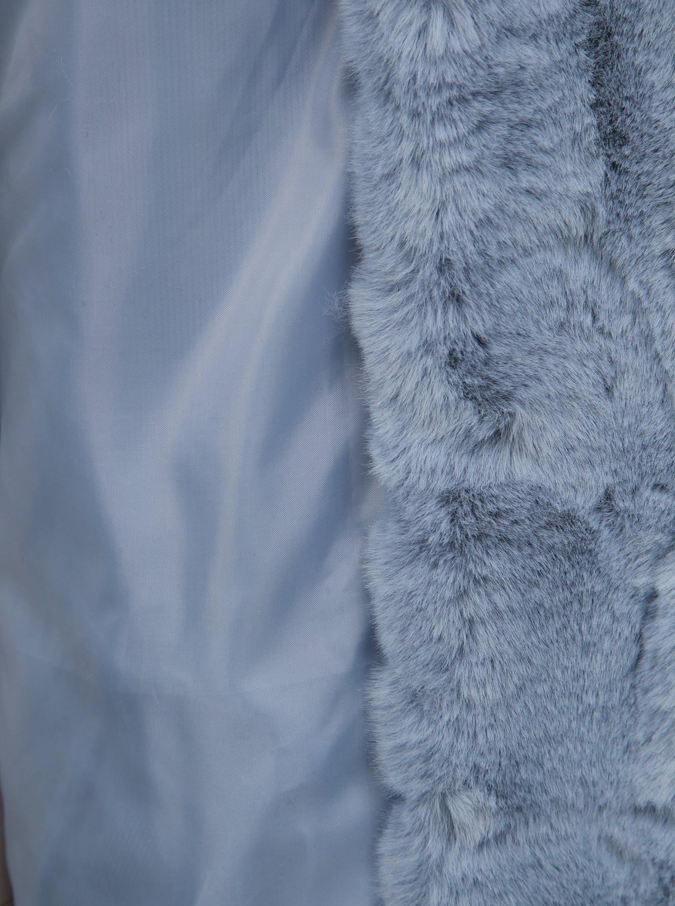 Světle modrý krátký kabát z umělé kožešiny TALLY WEiJL
