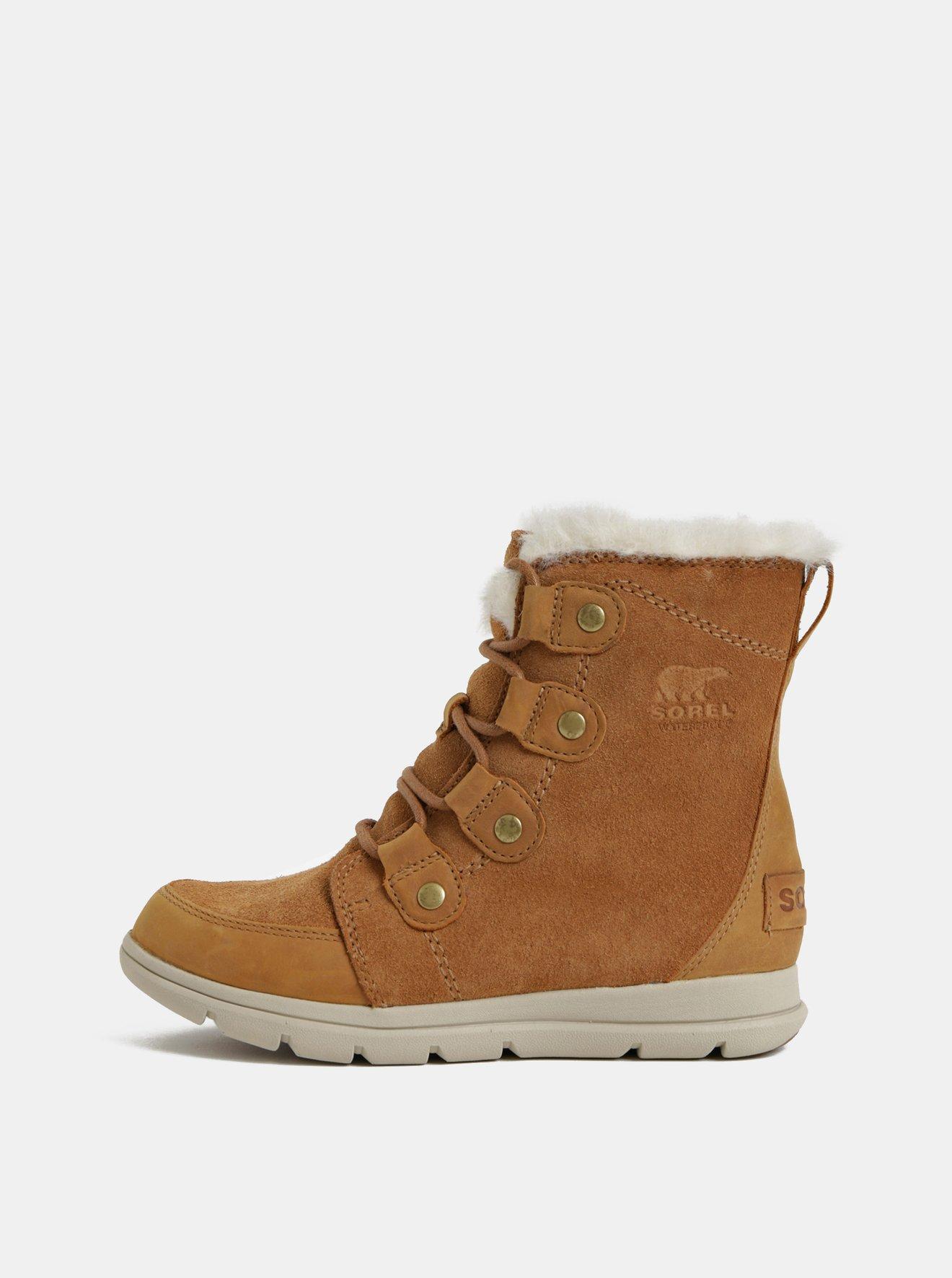 Hnědé dámské zimní voděodolné semišové kotníkové boty SOREL Explorer Joan
