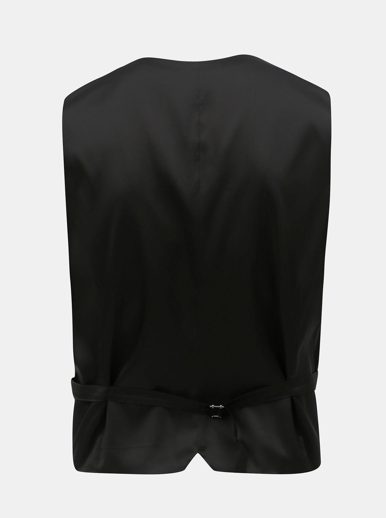 Černá obleková muscle fit vesta Burton Menswear London