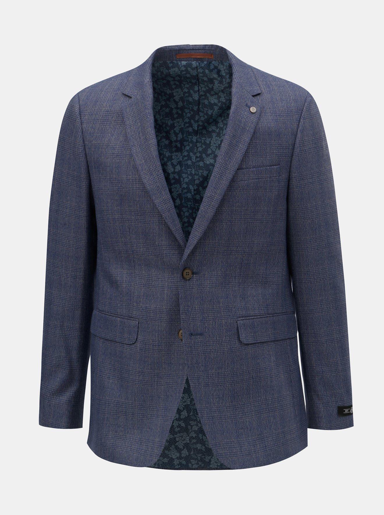 Modré kostkované oblekové slim fit sako Burton Menswear London