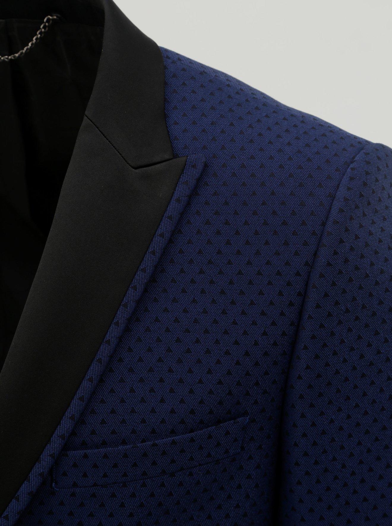 Tmavě modré vzorované oblekové slim fit sako Burton Menswear London