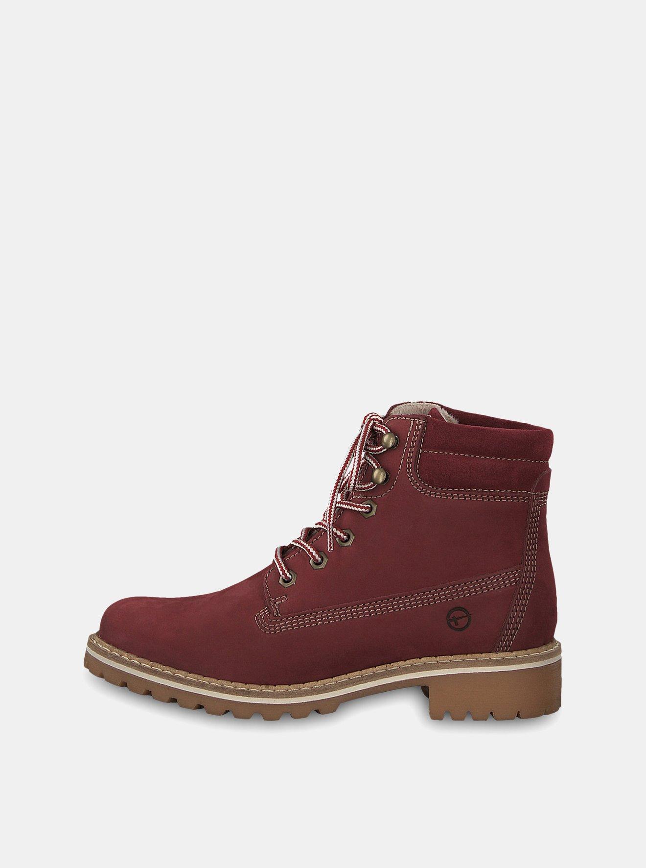 Vínové semišové kotníkové boty Tamaris