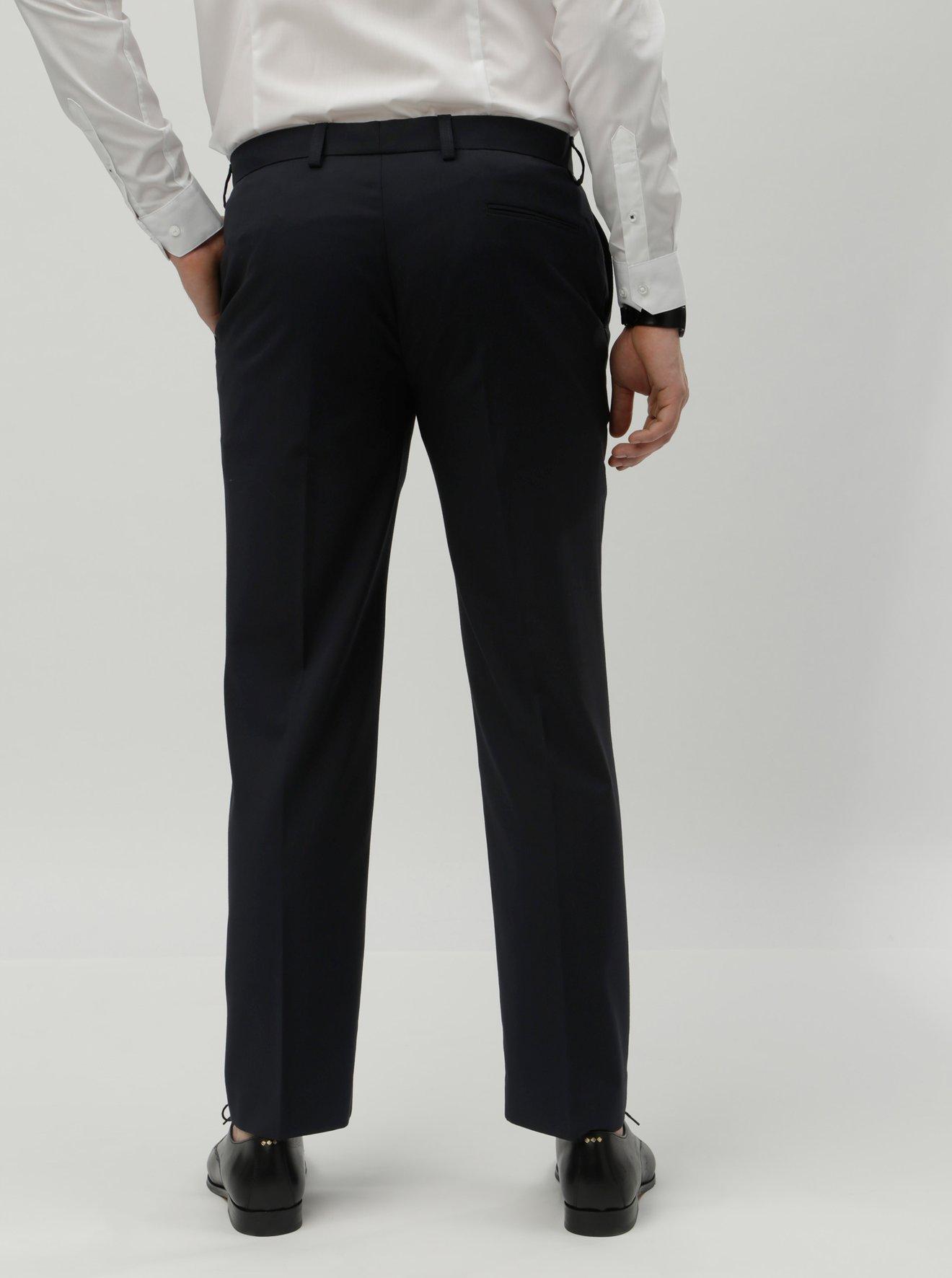 Tmavě modré tailored fit oblekové kalhoty Burton Menswear London