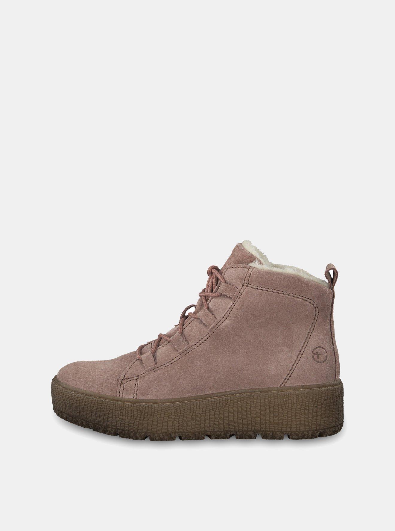 Starorůžové semišové kotníkové zimní boty na platformě Tamaris