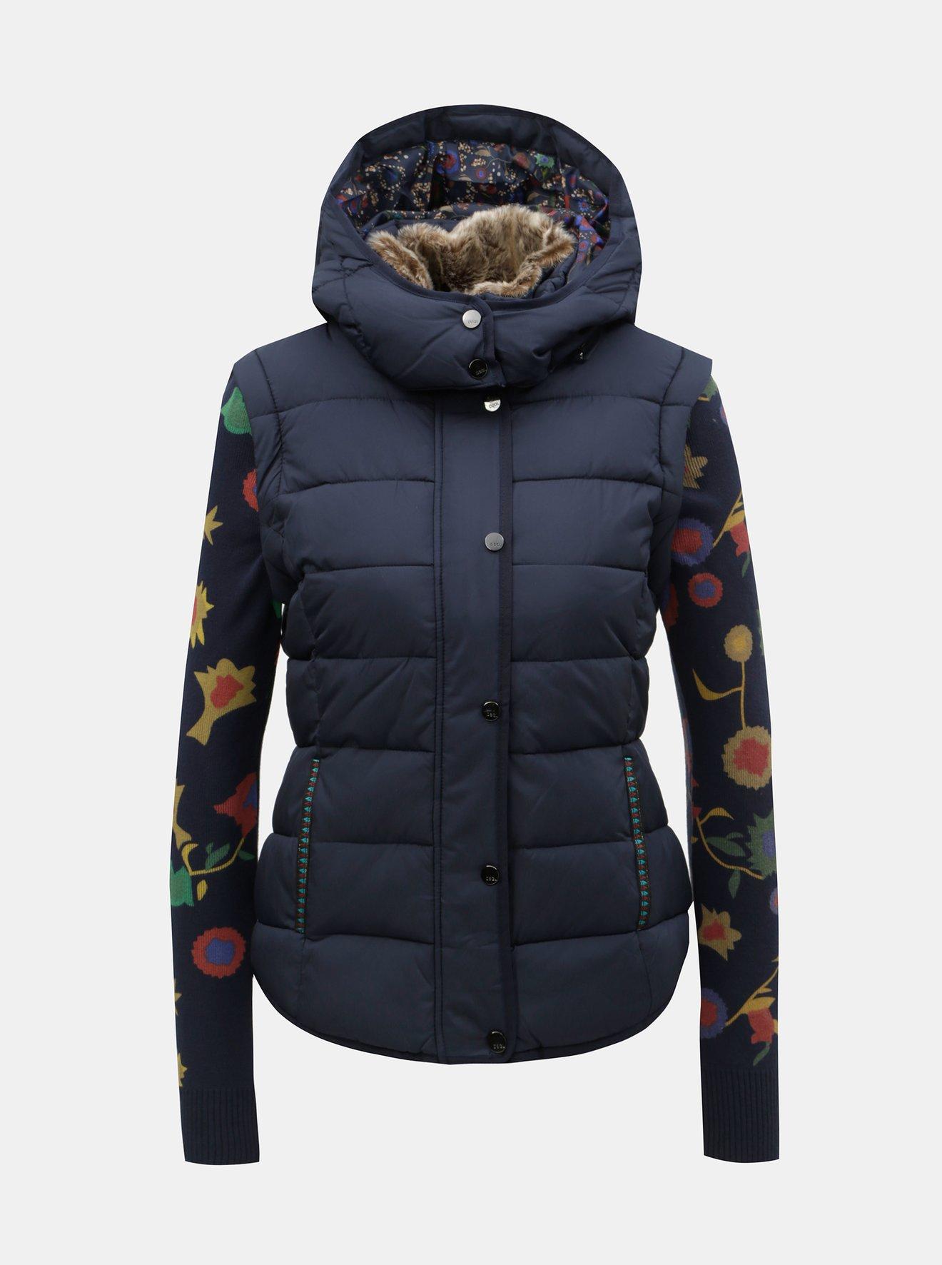 Tmavě modrá prošívaná bunda/vesta s odnímatelným umělým kožíškem Desigual Padded Pia