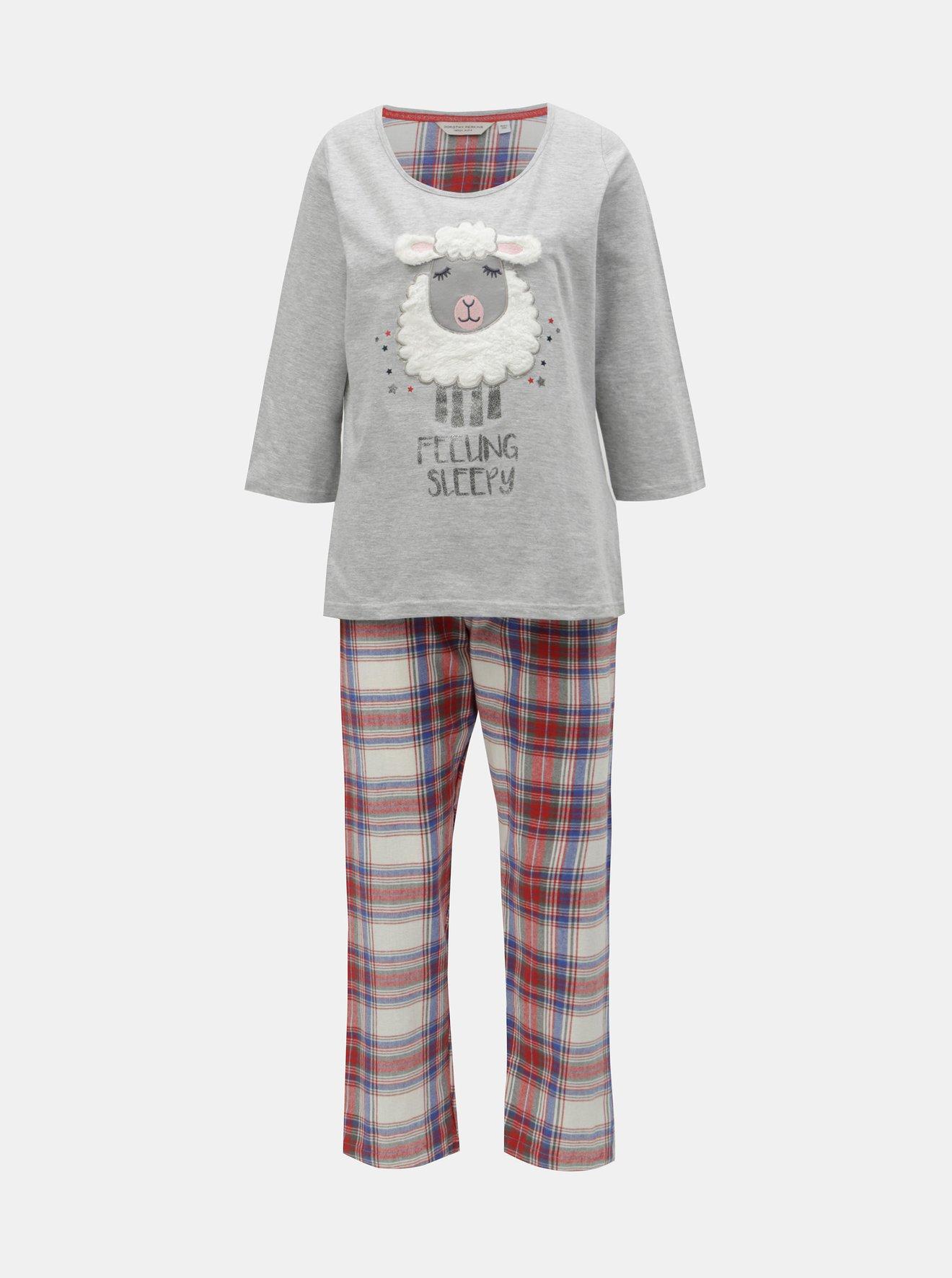 Červeno-šedé pyžamo s motivem ovce Dorothy Perkins