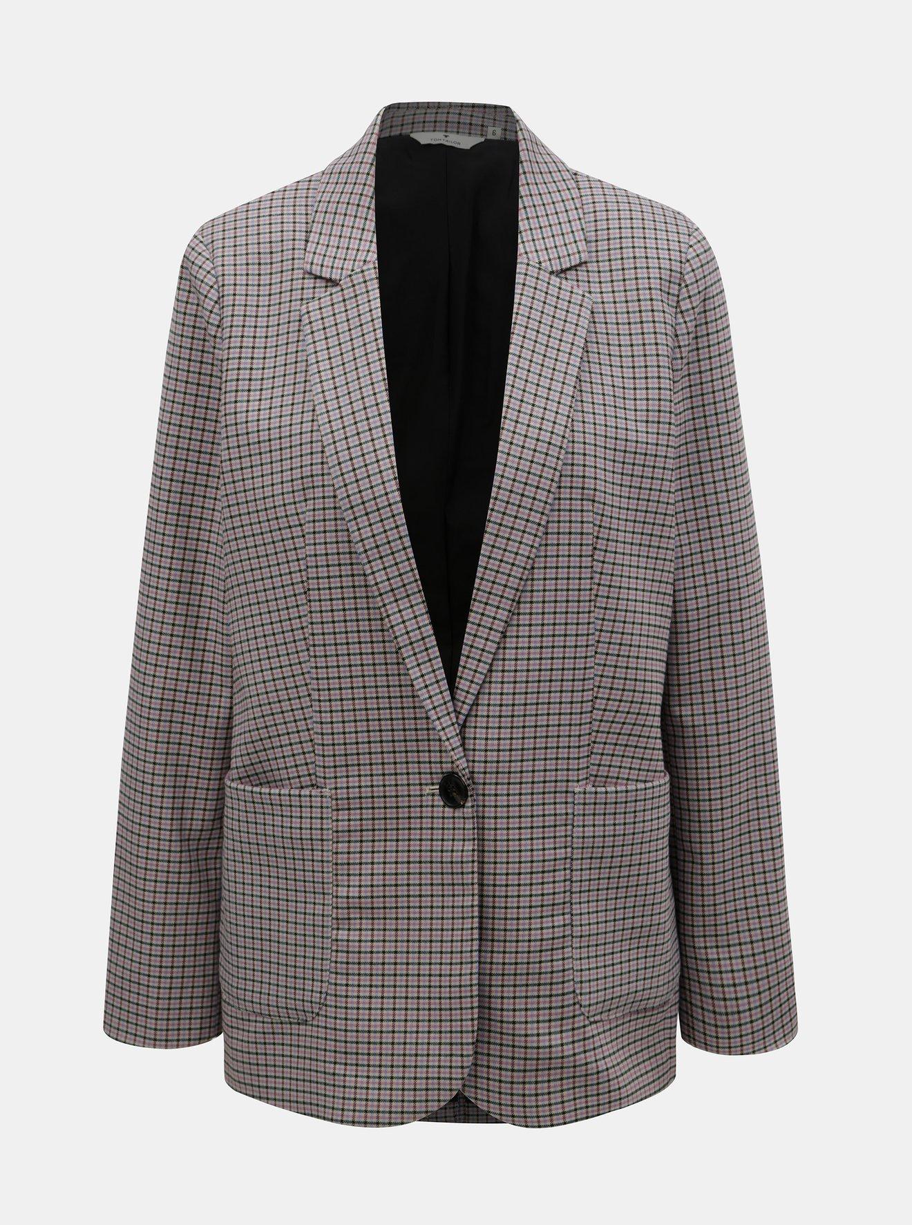 Růžovo-šedé dámské kostkované sako Tom Tailor