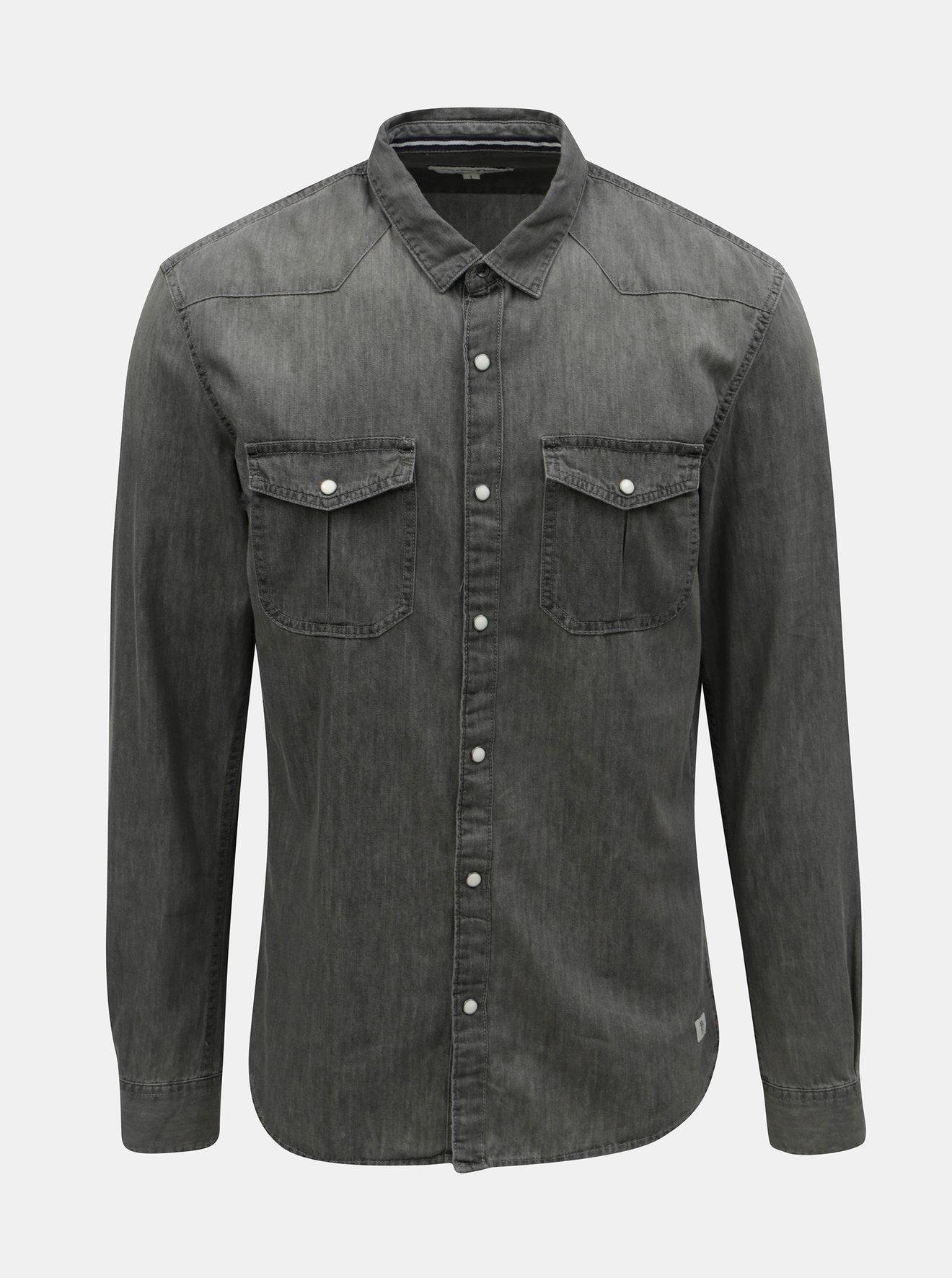 5752d8ff2 Šedá pánská džínová košile Tom Tailor Denim - SLEVA!   haltaron.cz