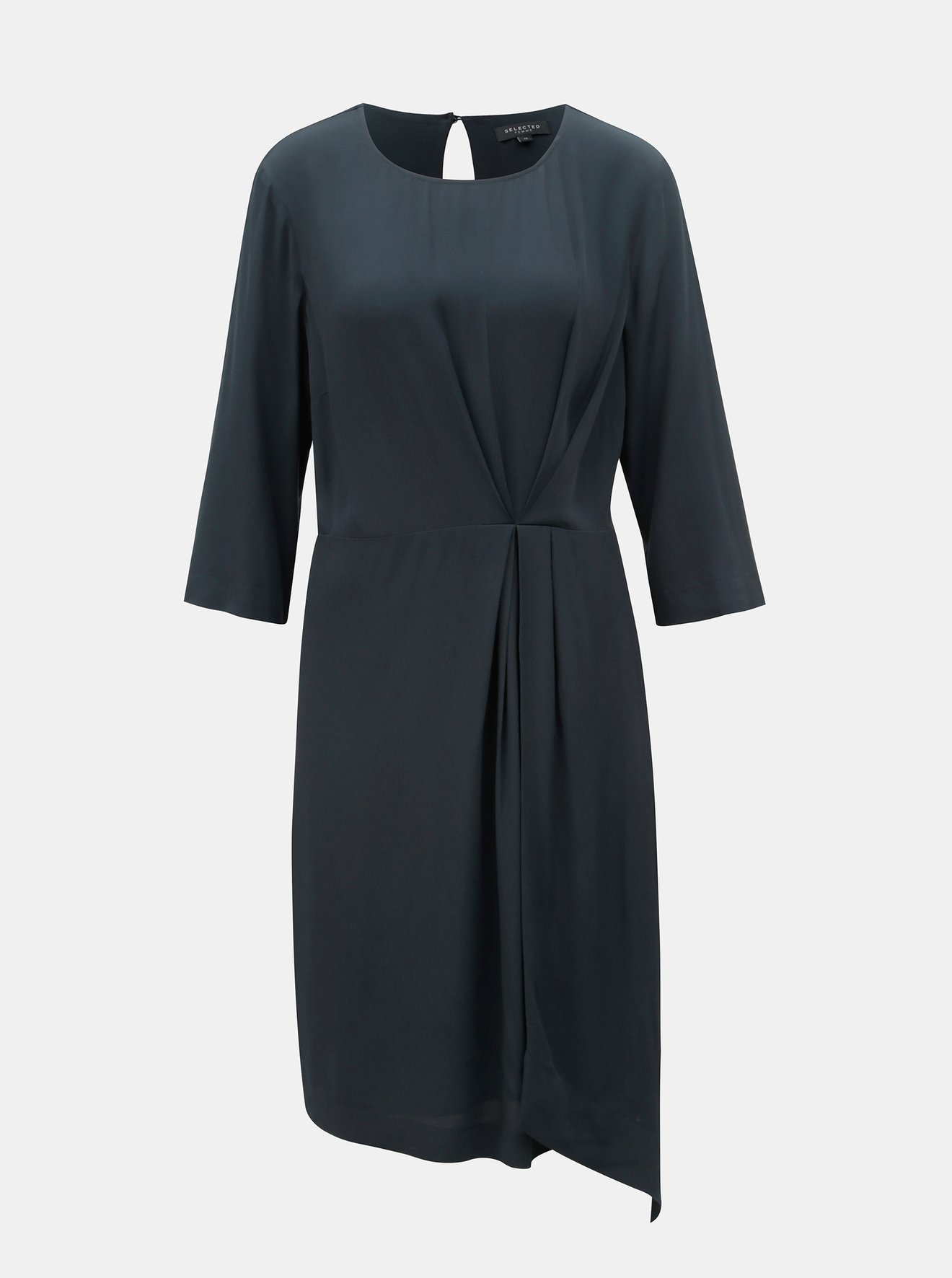 9ae4d8d72fad Tmavě modré šaty s řasením na boku Selected Femme Kiara