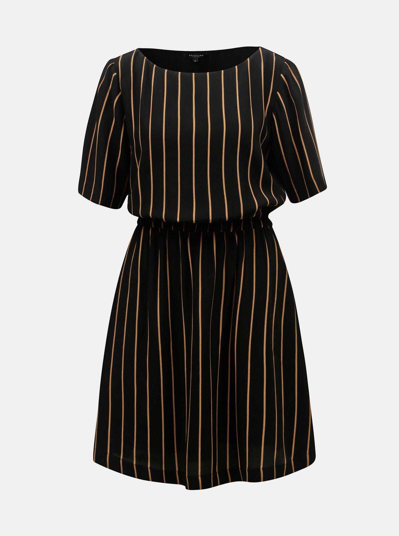 0092742fb27c Černé pruhované šaty s krátkým rukávem Selected Femme Alessa