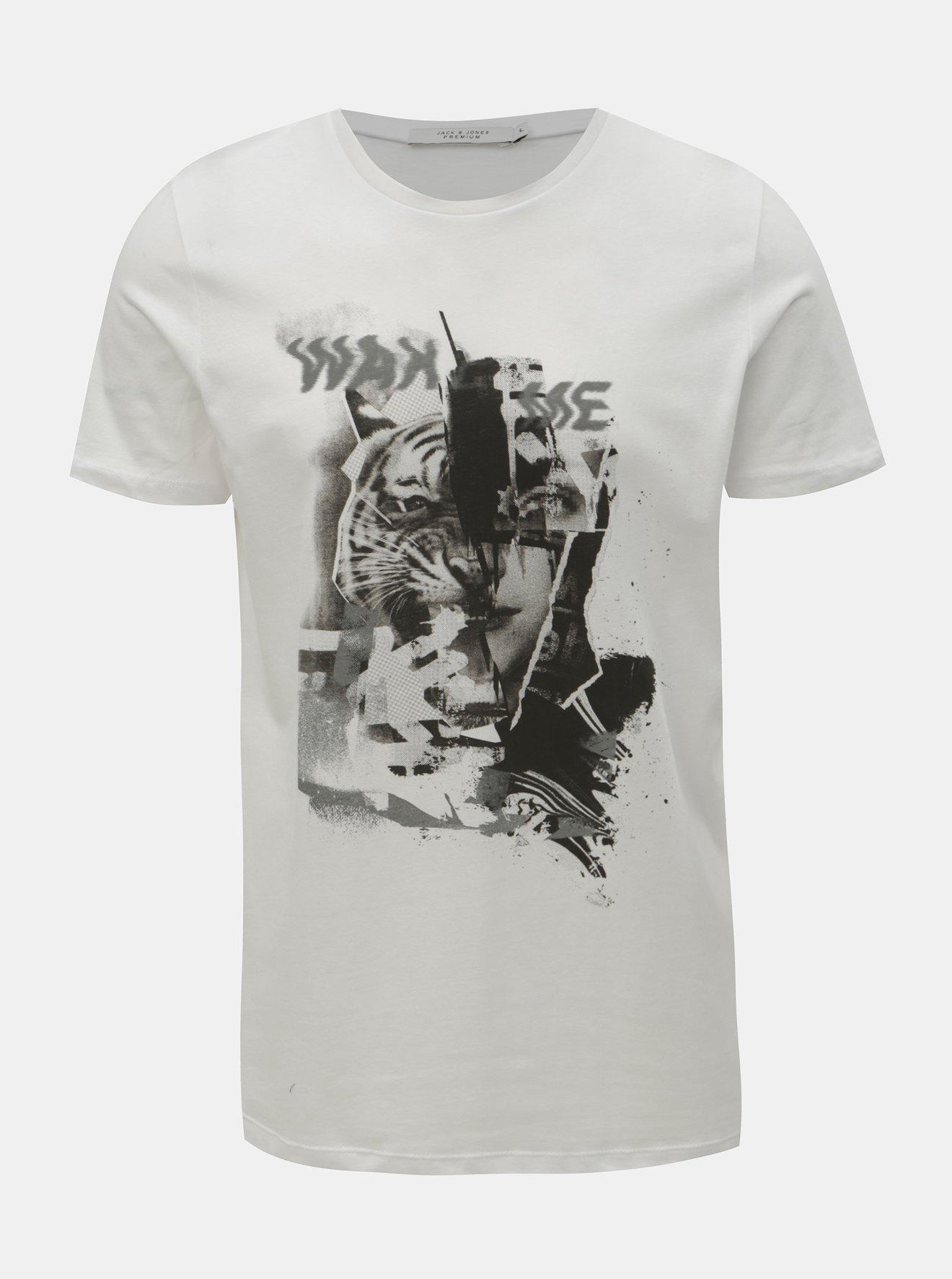 ffe1be8c1d76 Bílé slim fit tričko s potiskem Jack   Jones Mike