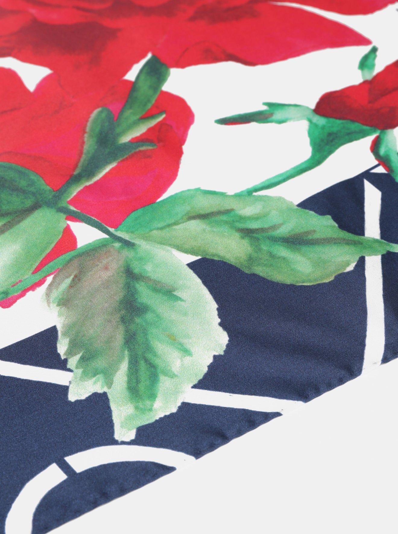 f1a4a7c5c Modro-červený dámský květovaný hedvábný šátek GANT - SLEVA ...