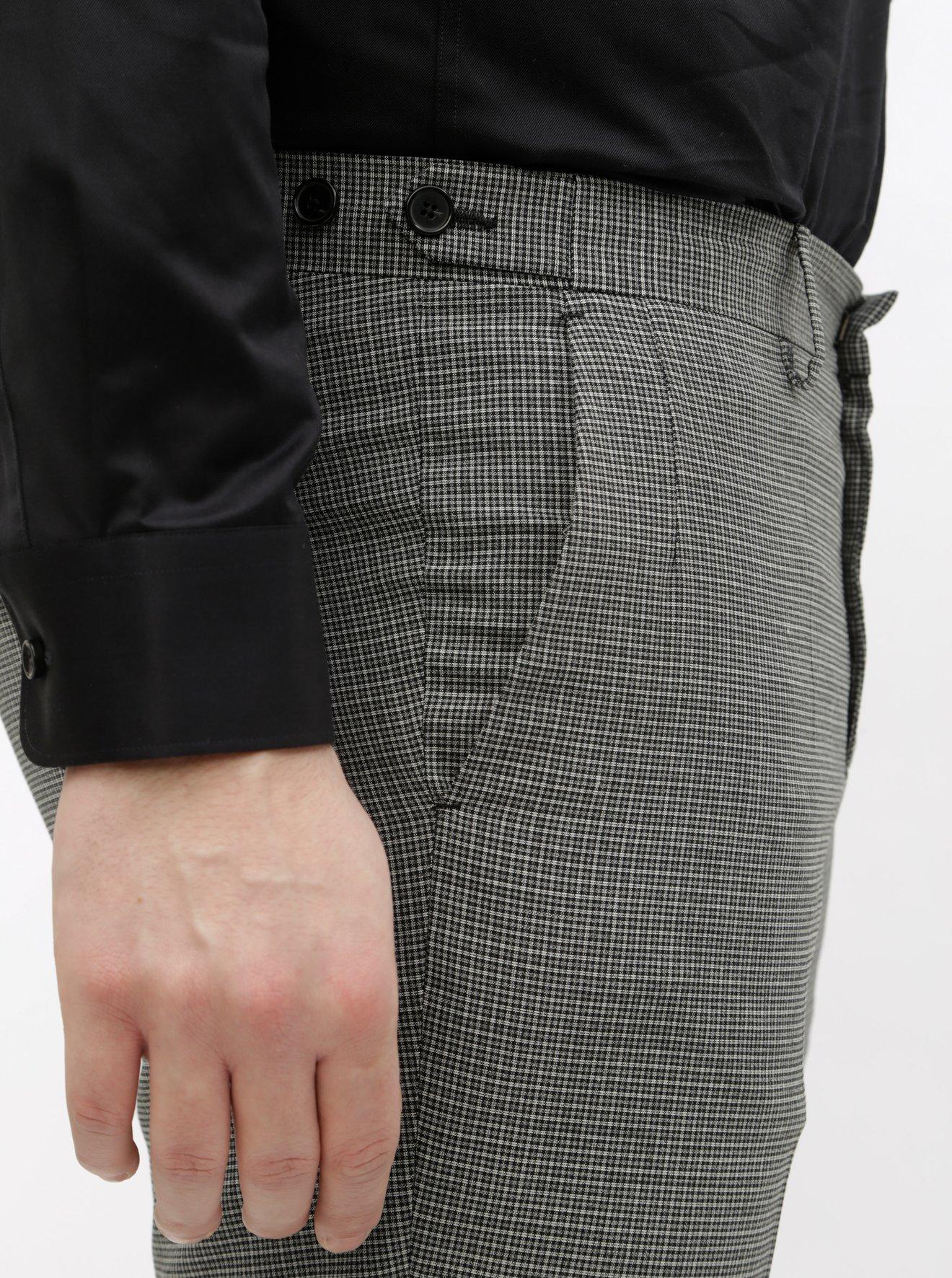 Šedé kostkované oblekové kalhoty s příměsí vlny Selected Homme Buffalnoah