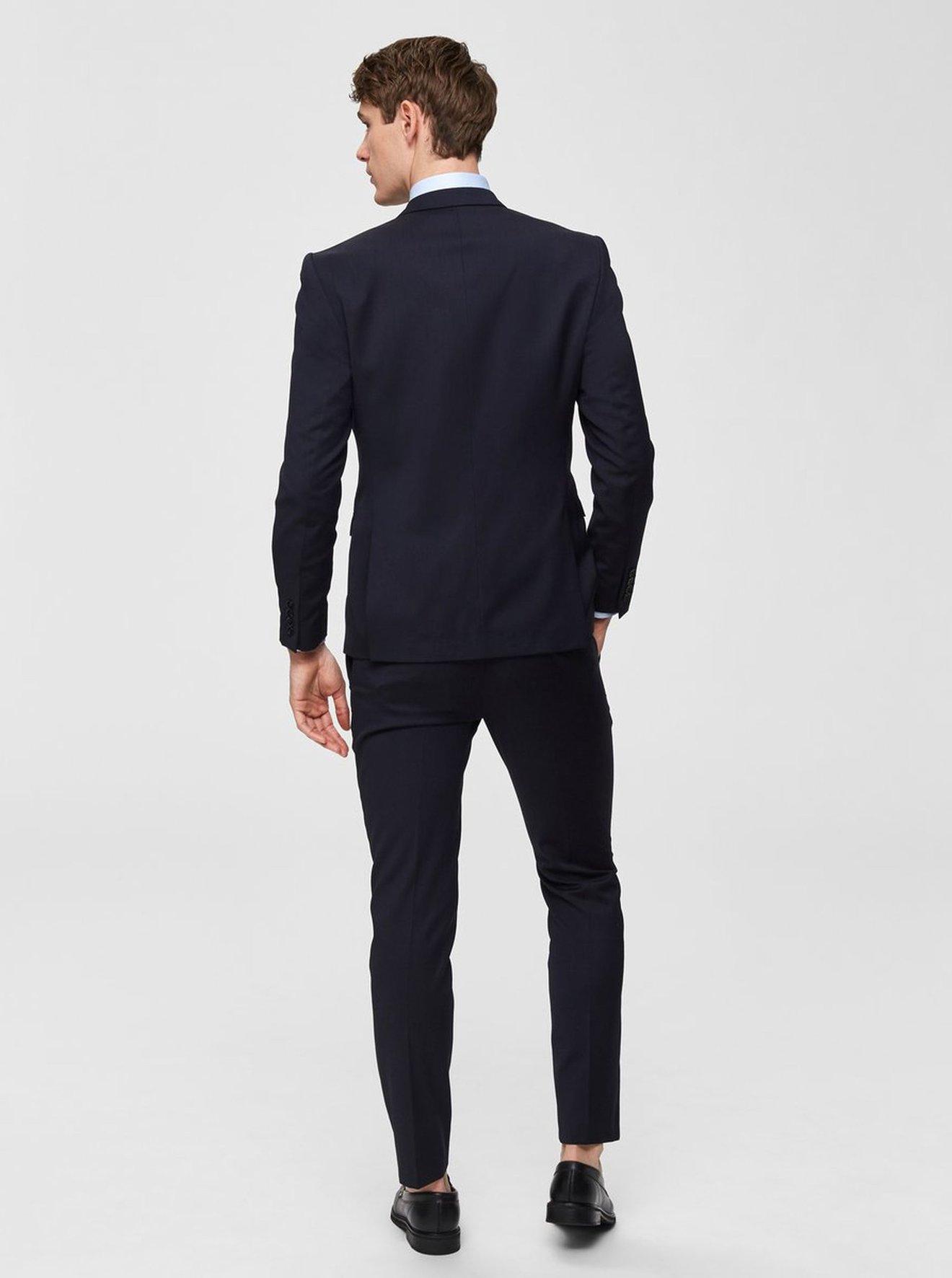 Tmavě modré oblekové slim kalhoty s příměsí vlny Selected Homme Lobill