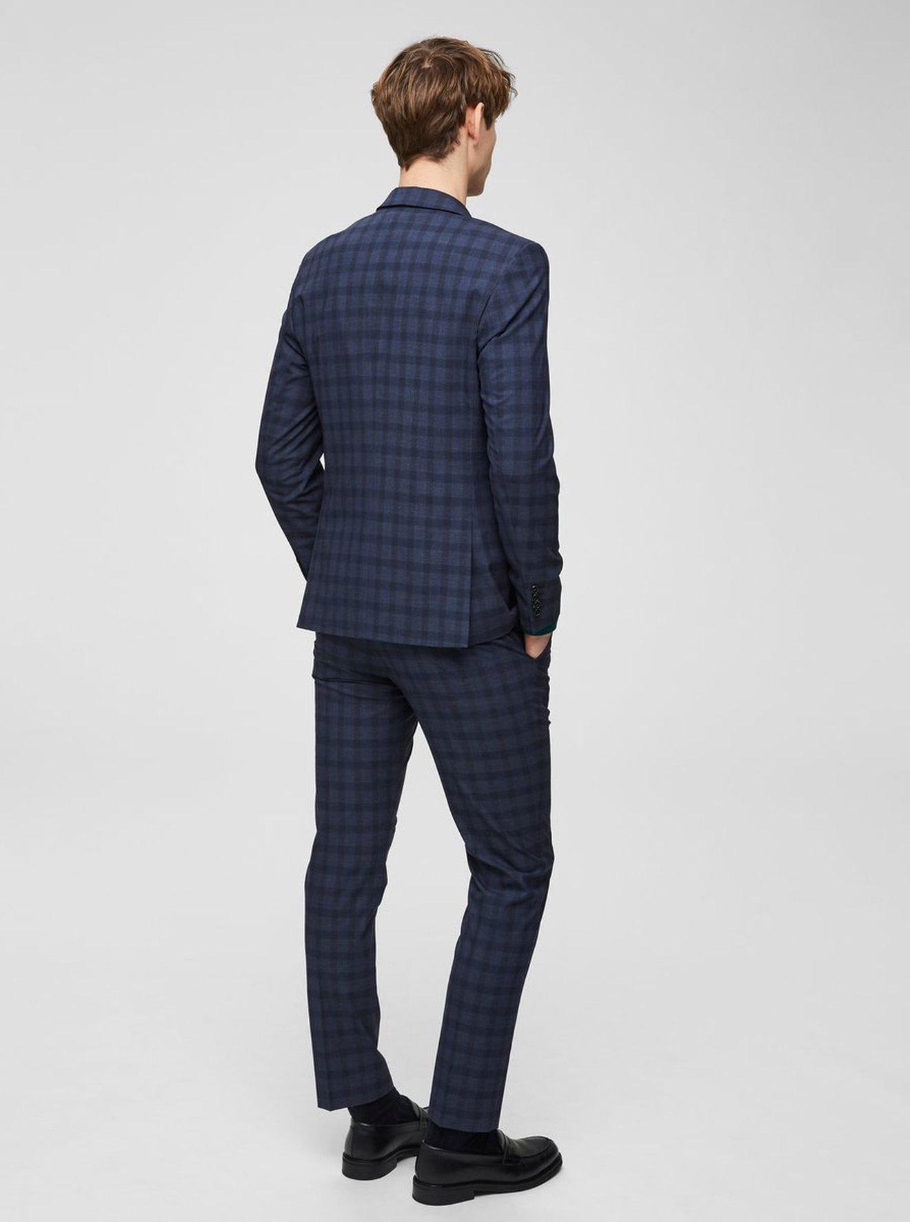 Tmavě modré kostkované oblekové slim sako Selected Homme Logan