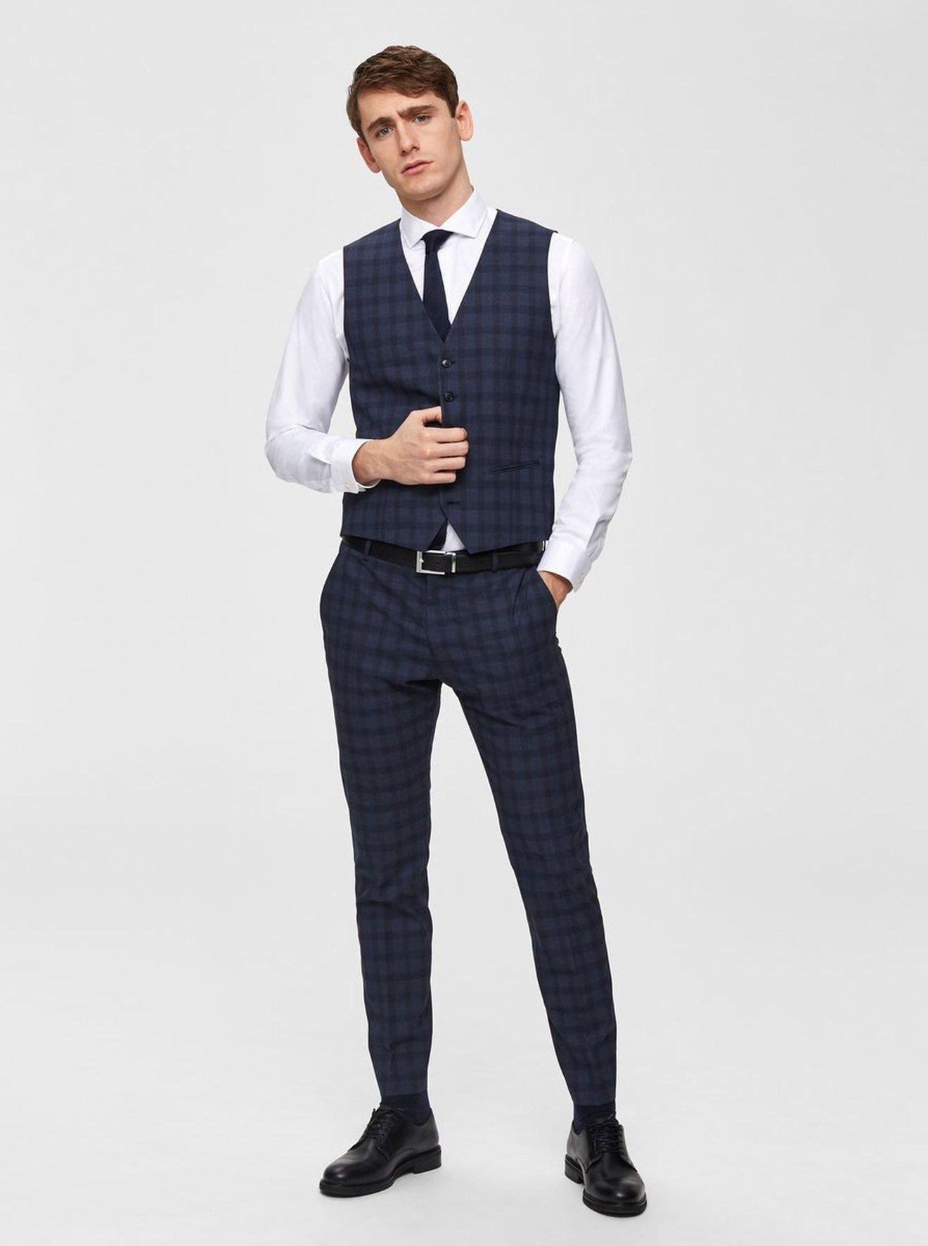 Tmavě modrá kostkovaná obleková vesta Selected Homme Logan