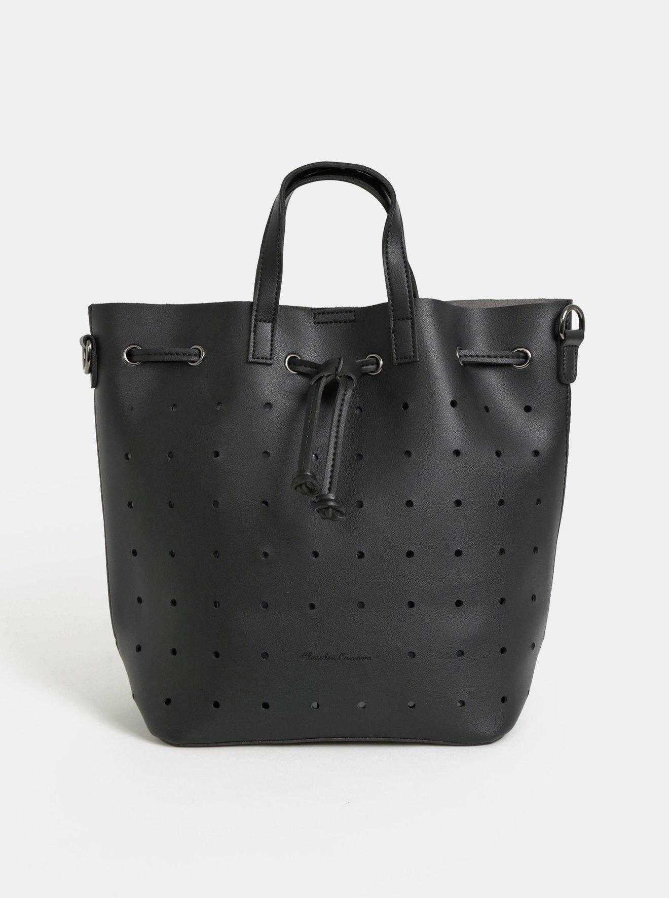Černá děrovaná vaková kabelka/batoh Claudia Canova Danay