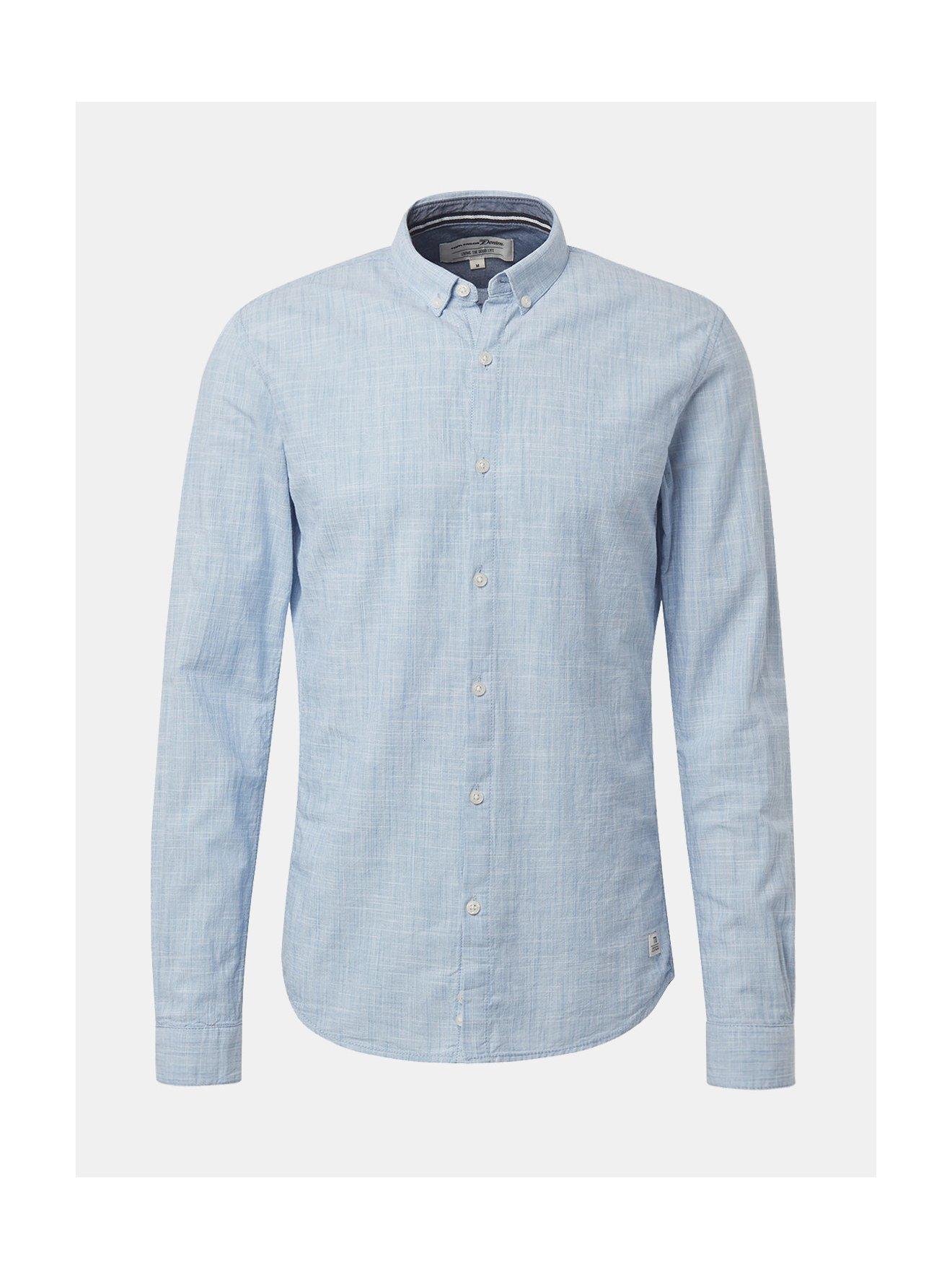 c8999bda3a0e Světle modrá pánská žíhaná košile Tom Tailor Denim