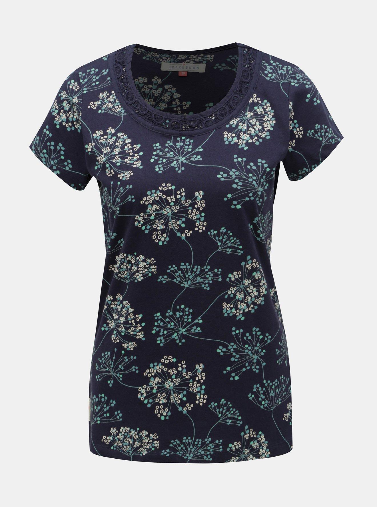 Tmavě modré květované tričko Brakeburn Cow Parsley