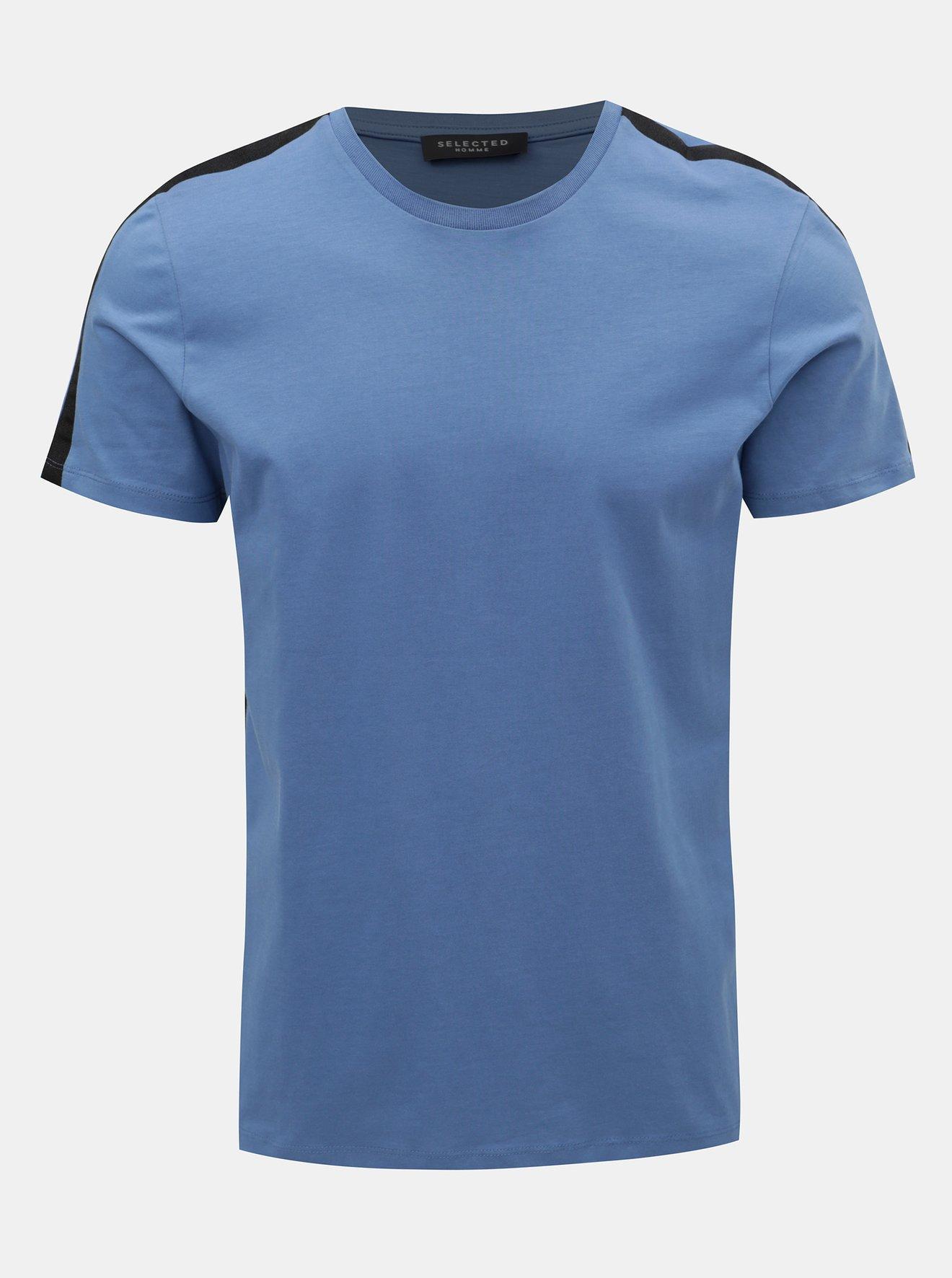 675d654ab7e2 Modré tričko Selected Homme Rib - SLEVA!