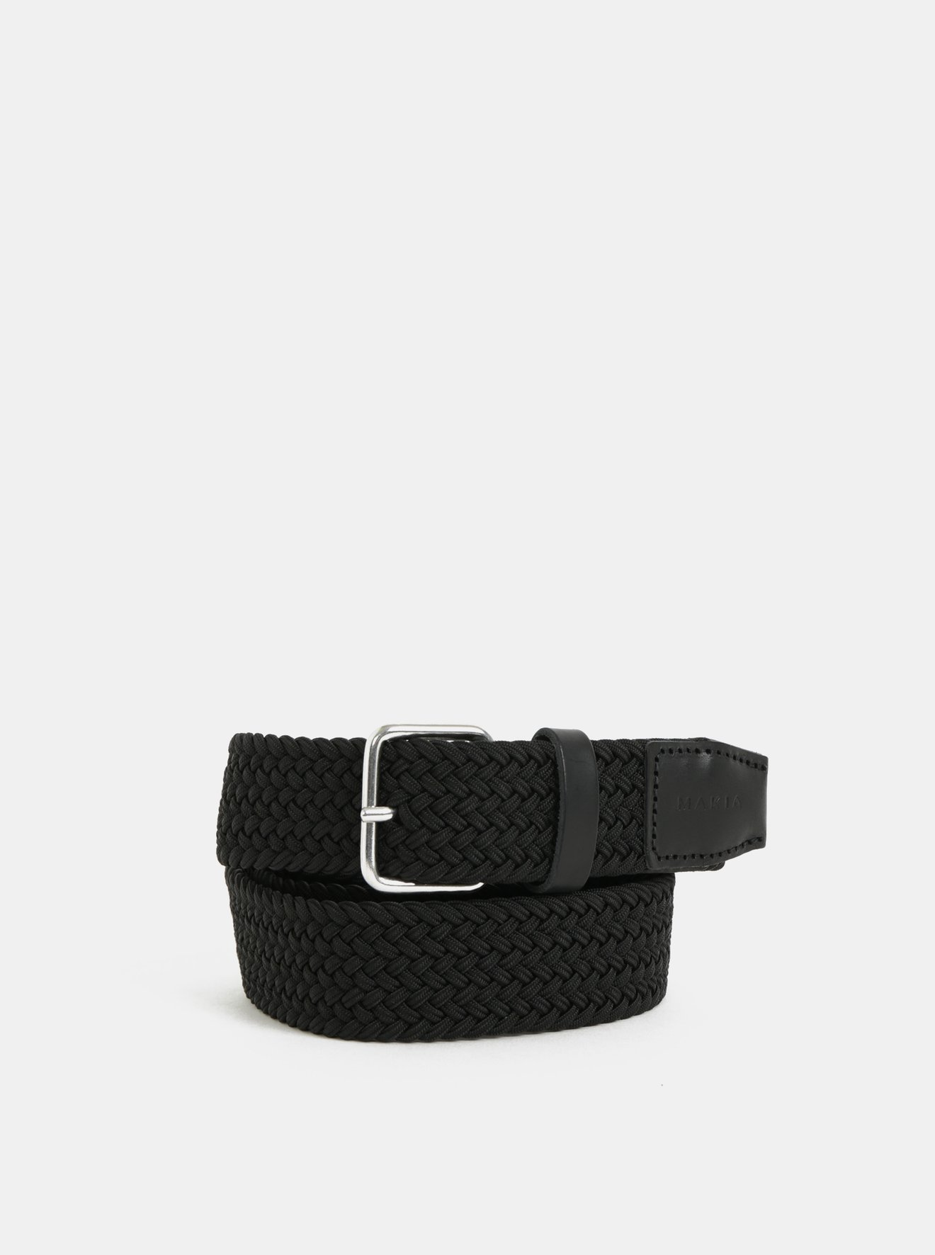 Černý pásek s koženými detaily Makia Span