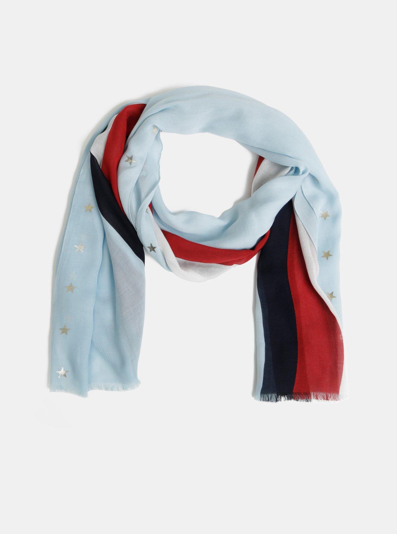 Modrý dámský pruhovaný šátek Tommy Hilfiger