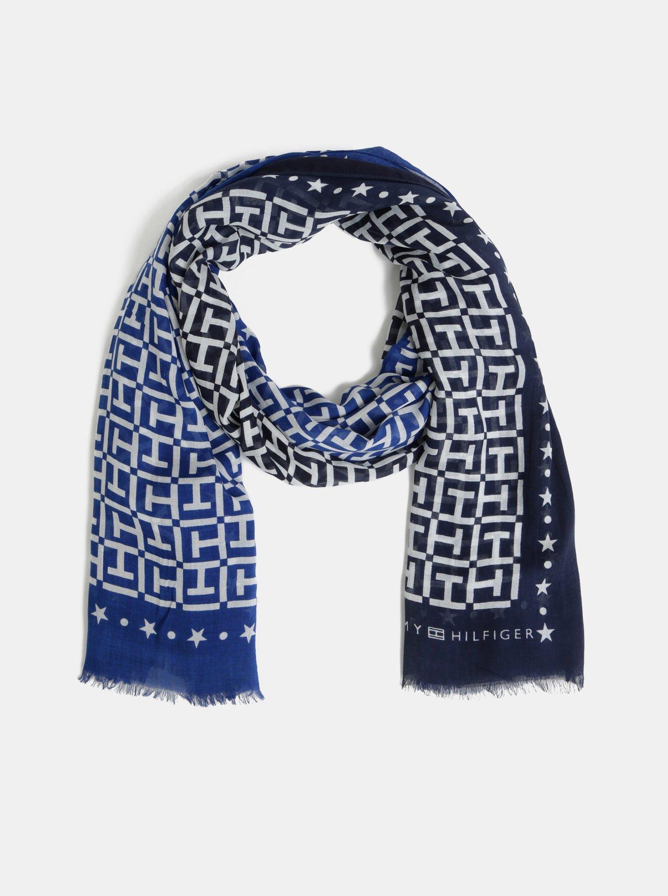 Modro-bílý dámský vzorovaný šátek Tommy Hilfiger