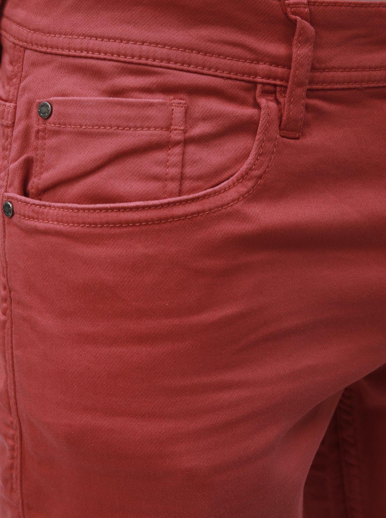 Červené džínové slim fit kraťasy Blend