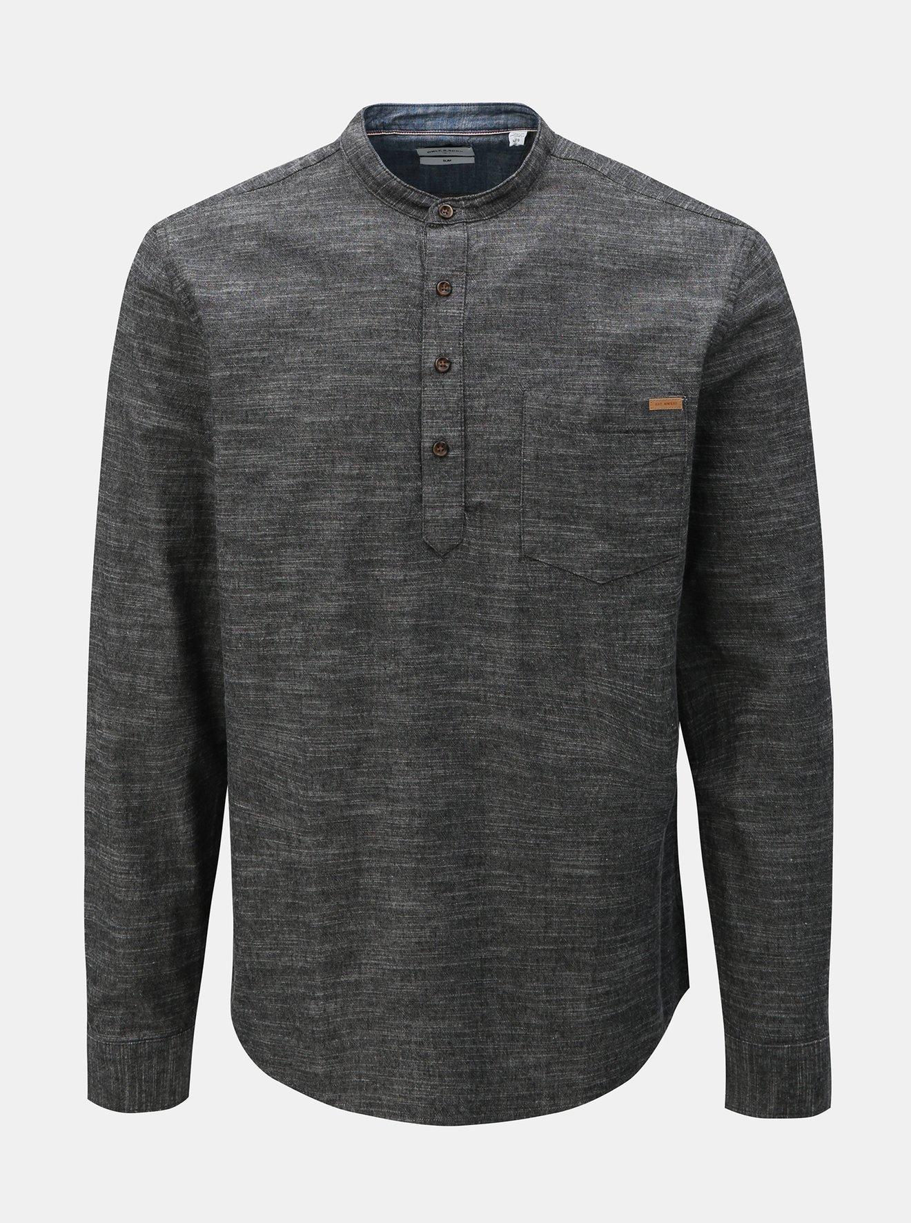 Tmavě šedá žíhaná slim fit košile ONLY & SONS Toby