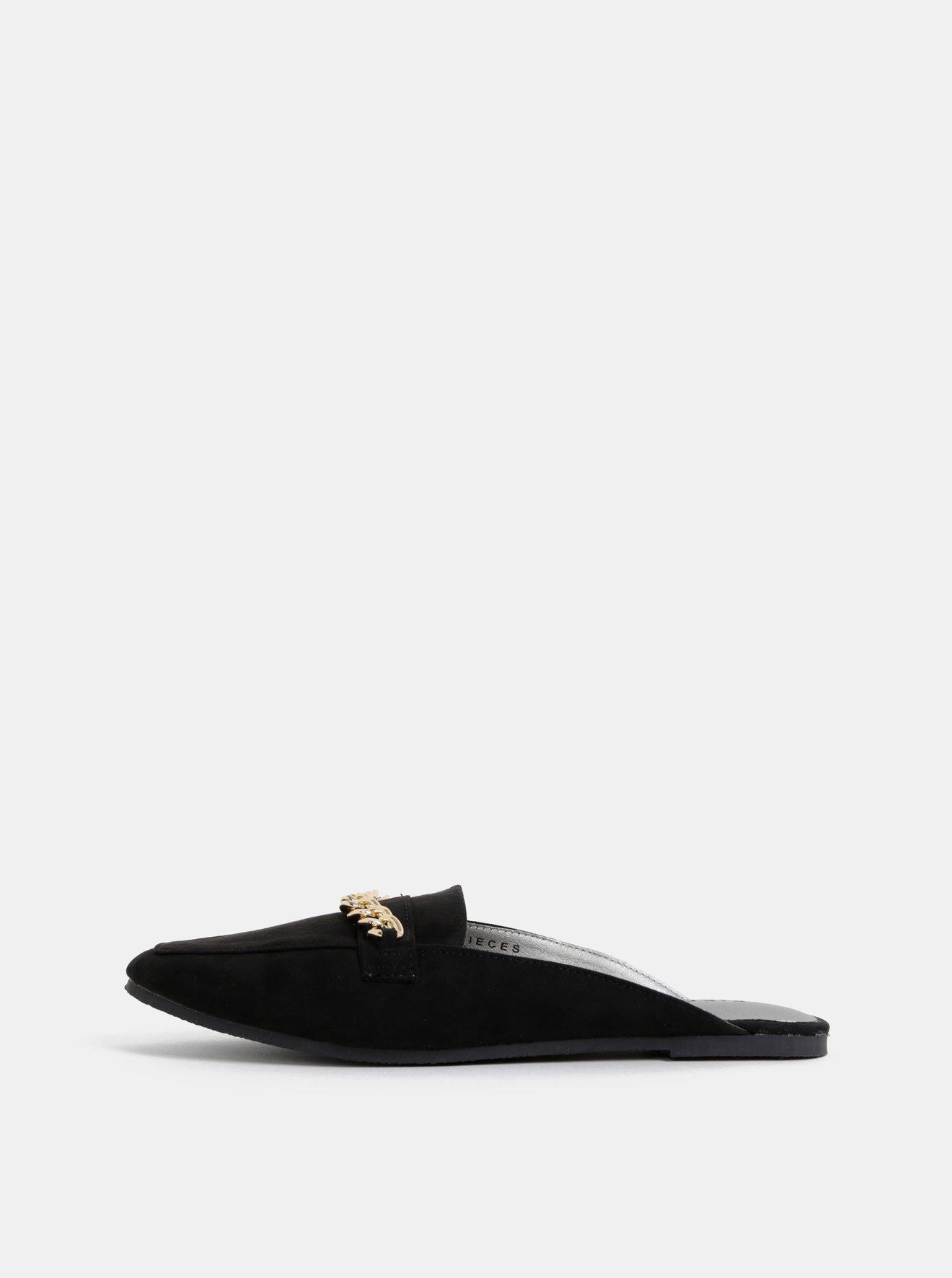 Černé pantofle v semišové úpravě s ozdobným detailem Pieces Cecilia