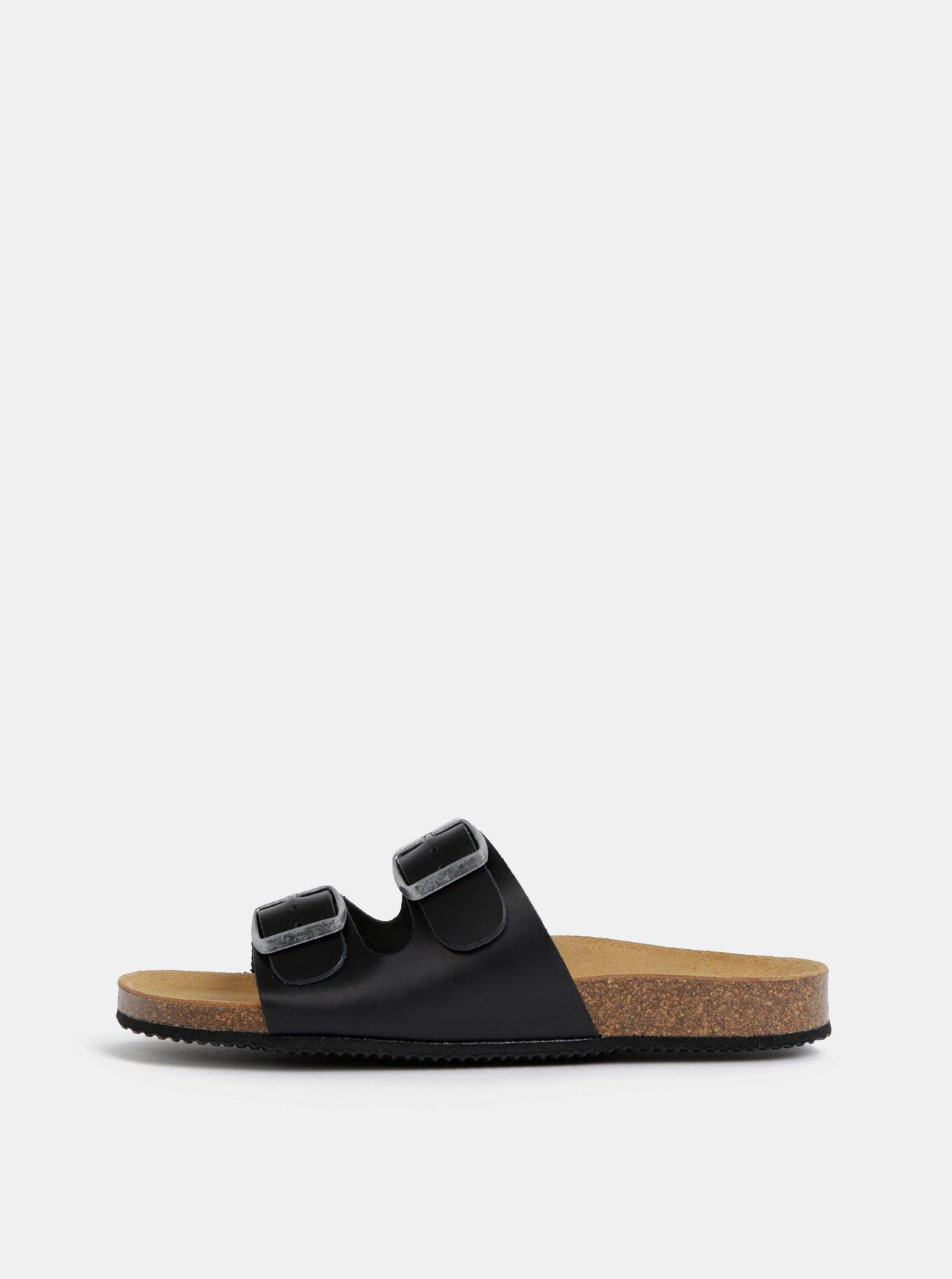 Černé kožené pantofle Pieces Coco