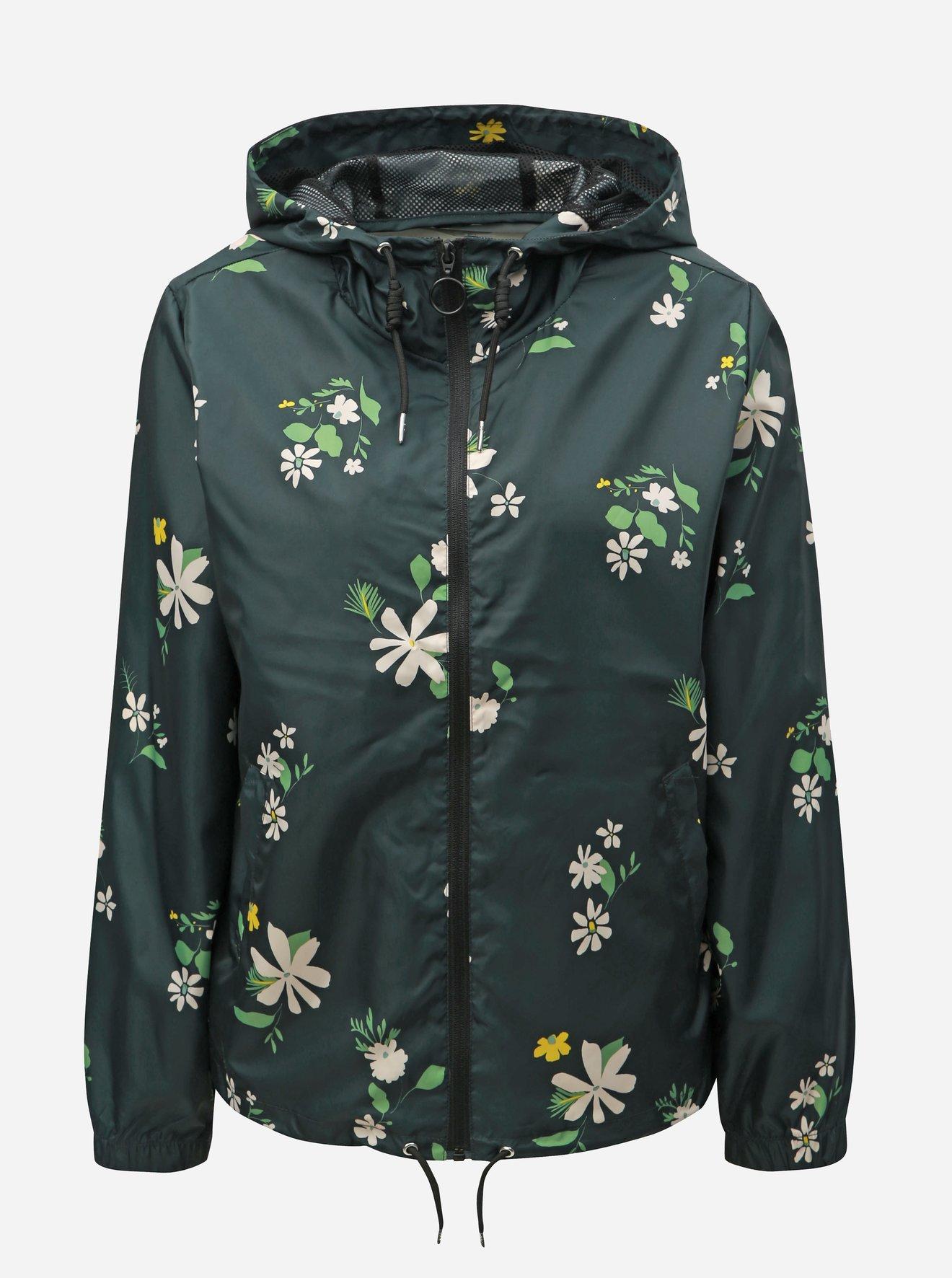 Tmavě šedá květovaná lehká bunda Jacqueline de Yong Jelina