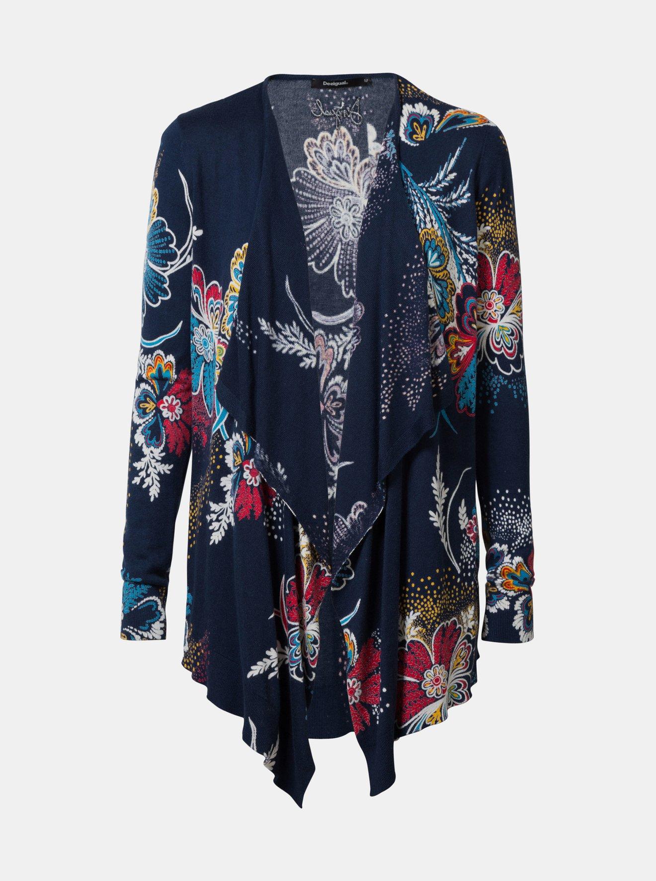 Tmavě modrý květovaný kardigan Desigual Nerea