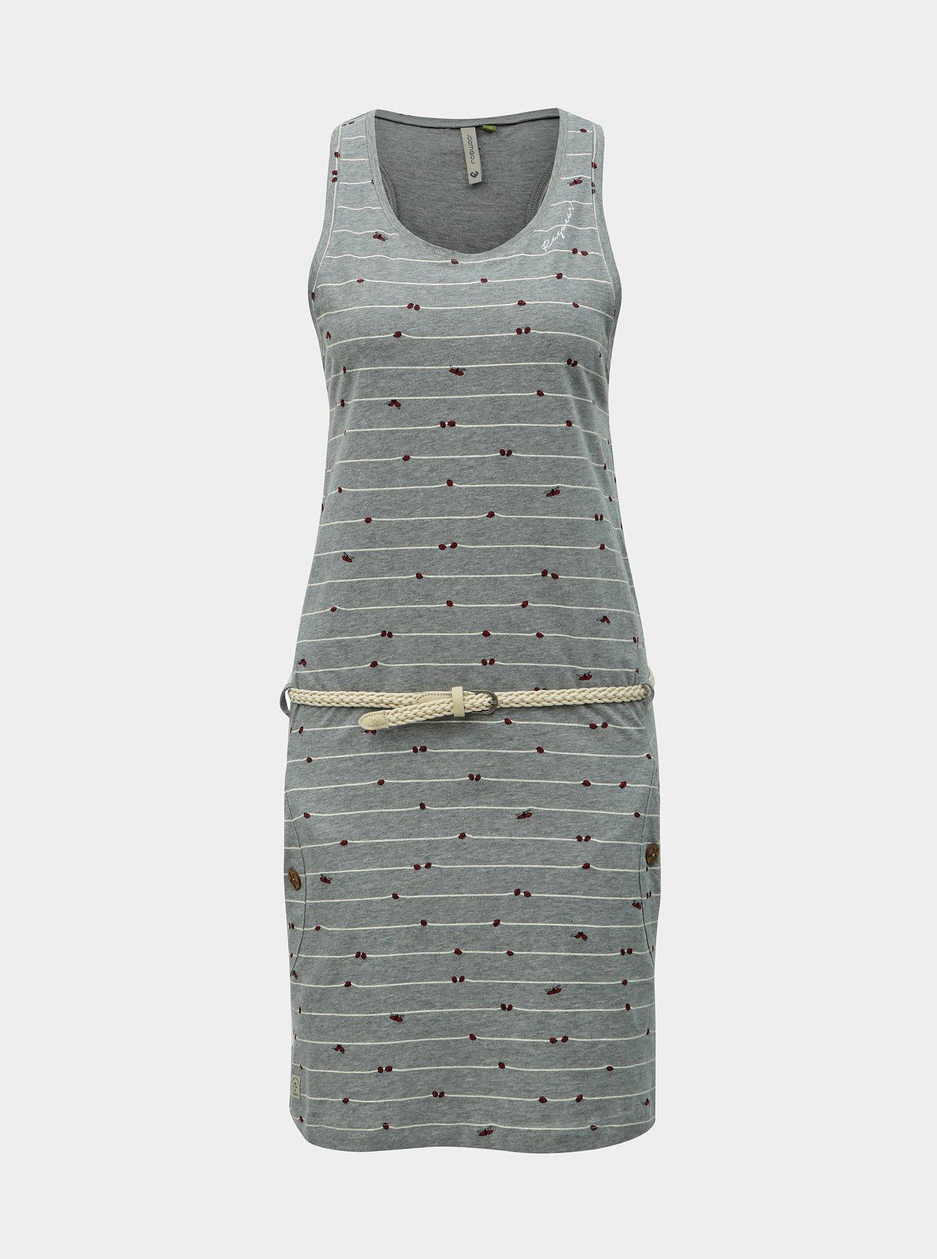 Šedé vzorované šaty s páskem Ragwear Kesy B Organic