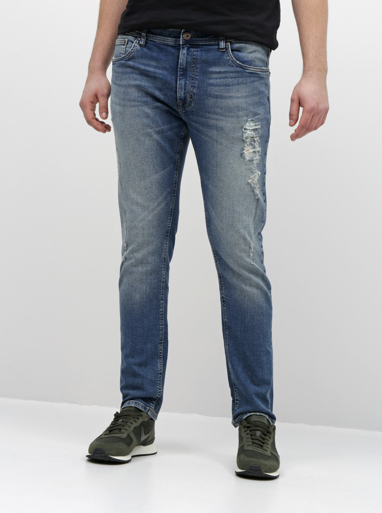 Modré slim fit džíny s potrhaným efektem Shine Original