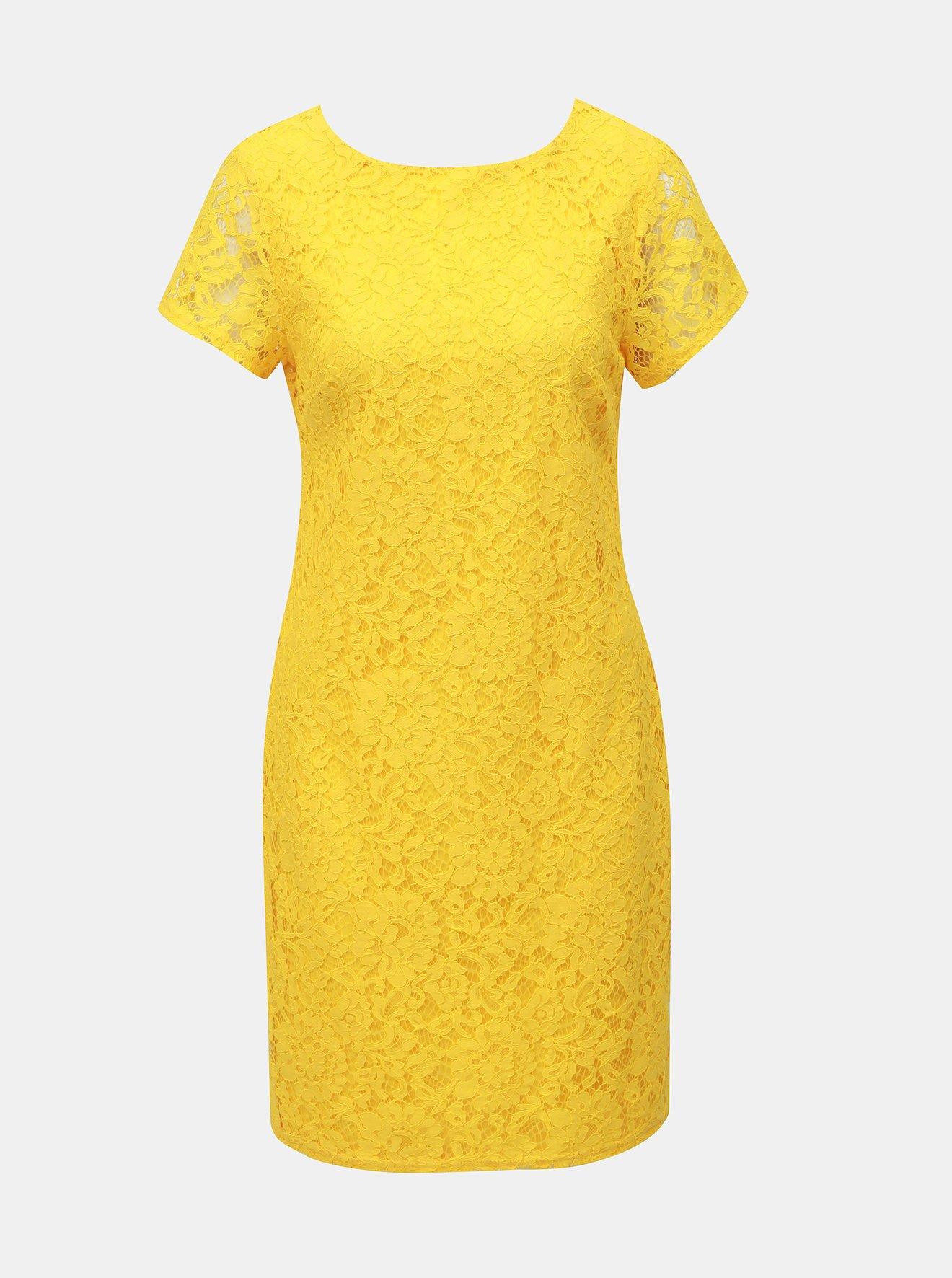 Žluté krajkové pouzdrové šaty Dorothy Perkins
