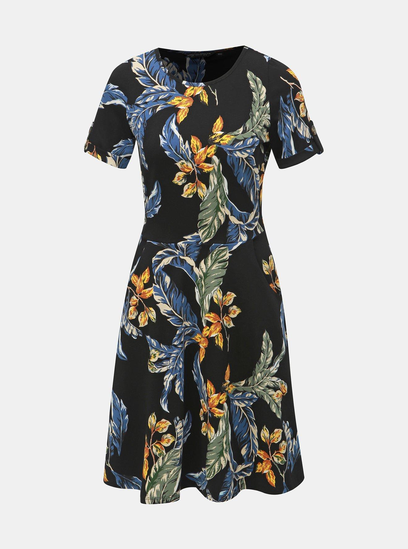 Černé květované šaty s kapsami Dorothy Perkins