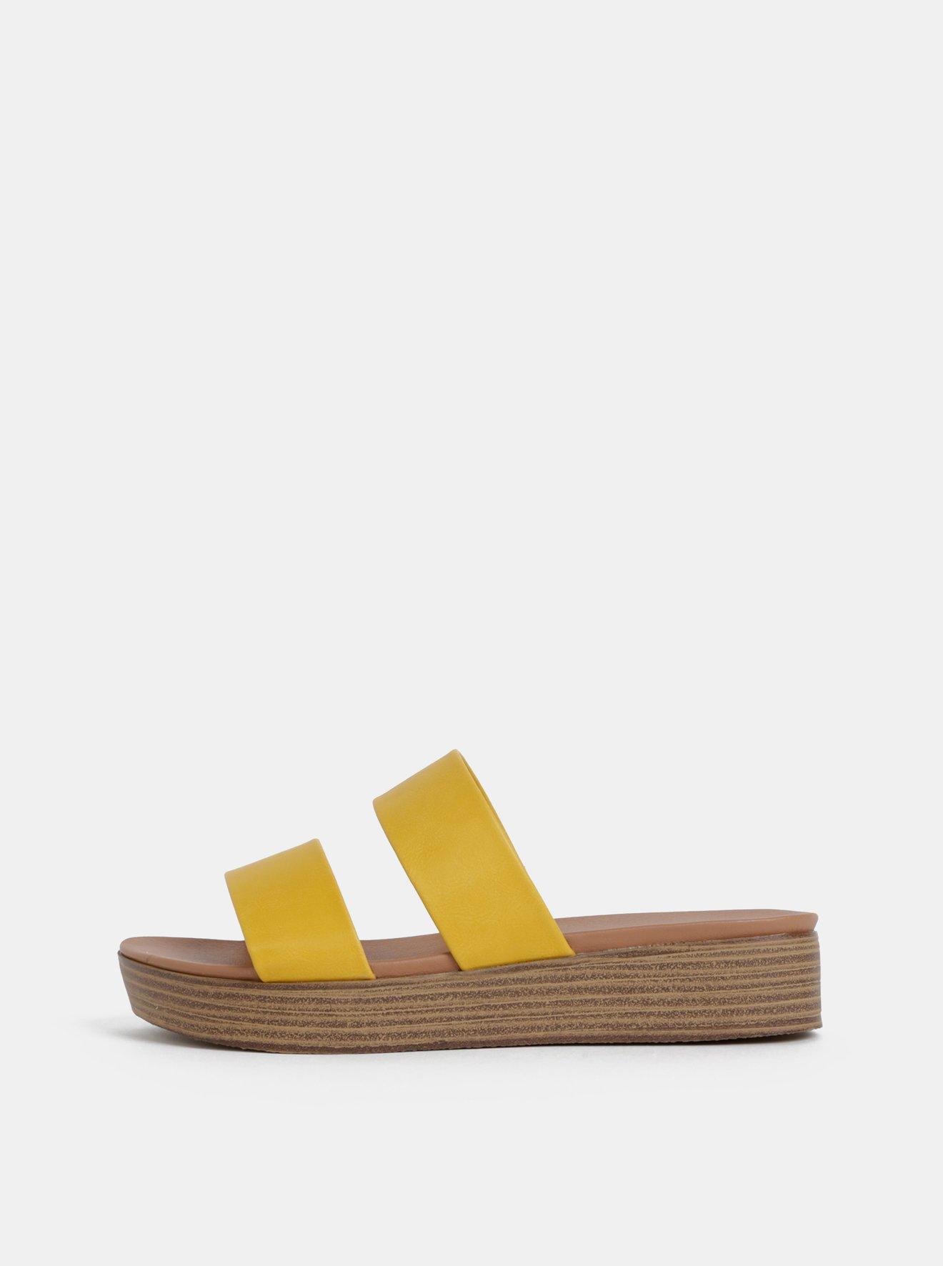 Hořčicové pantofle na platformě Dorothy Perkins