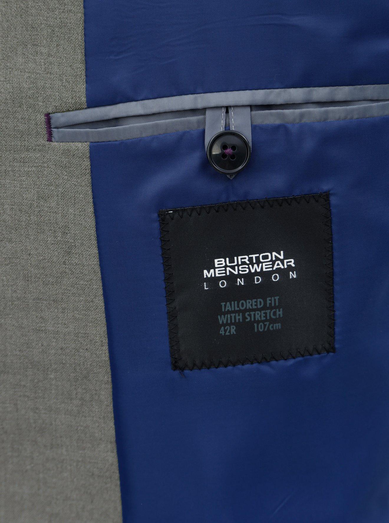 Šedé oblekové tailored fit sako Burton Menswear London