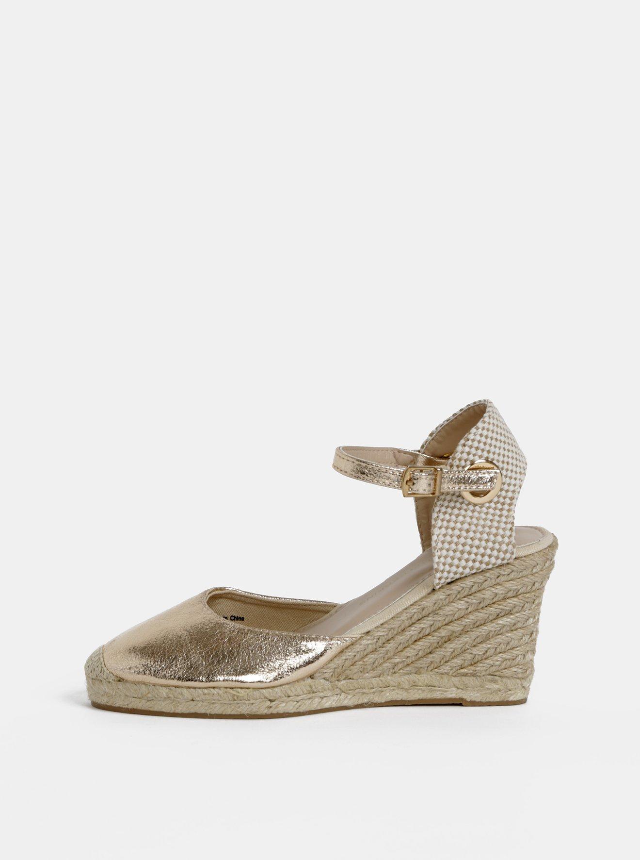 Sandály na klínku ve zlatorůžové barvě Dorothy Perkins