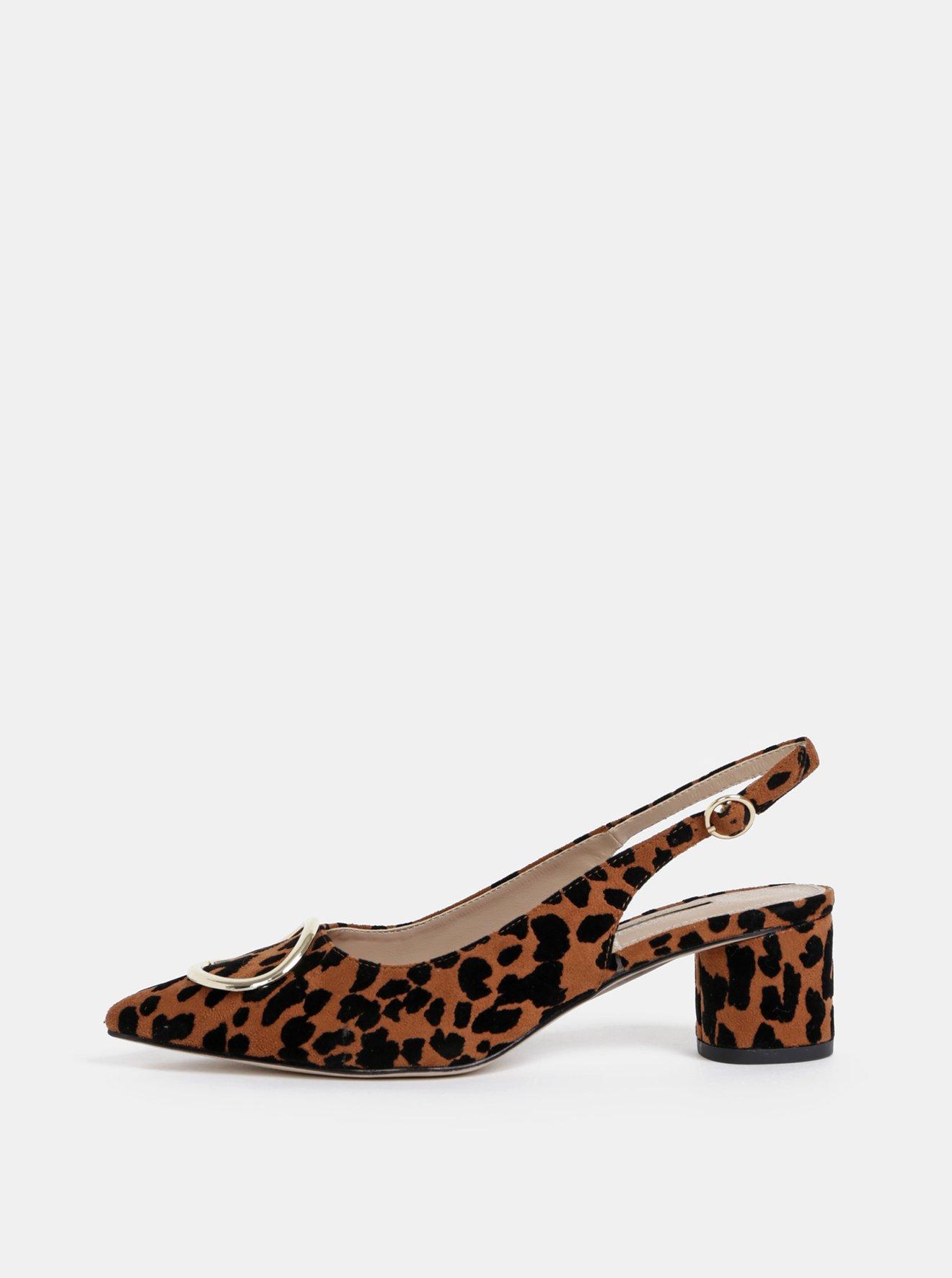 Hnědé lodičky s leopardím vzorem Dorothy Perkins