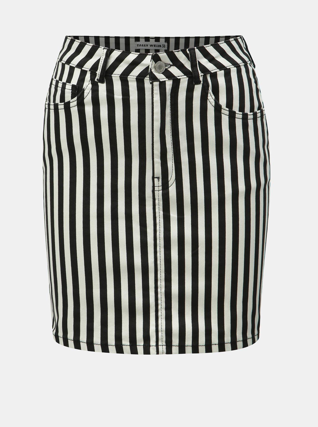 Bílo-černá pruhovaná džínová minisukně TALLY WEiJL