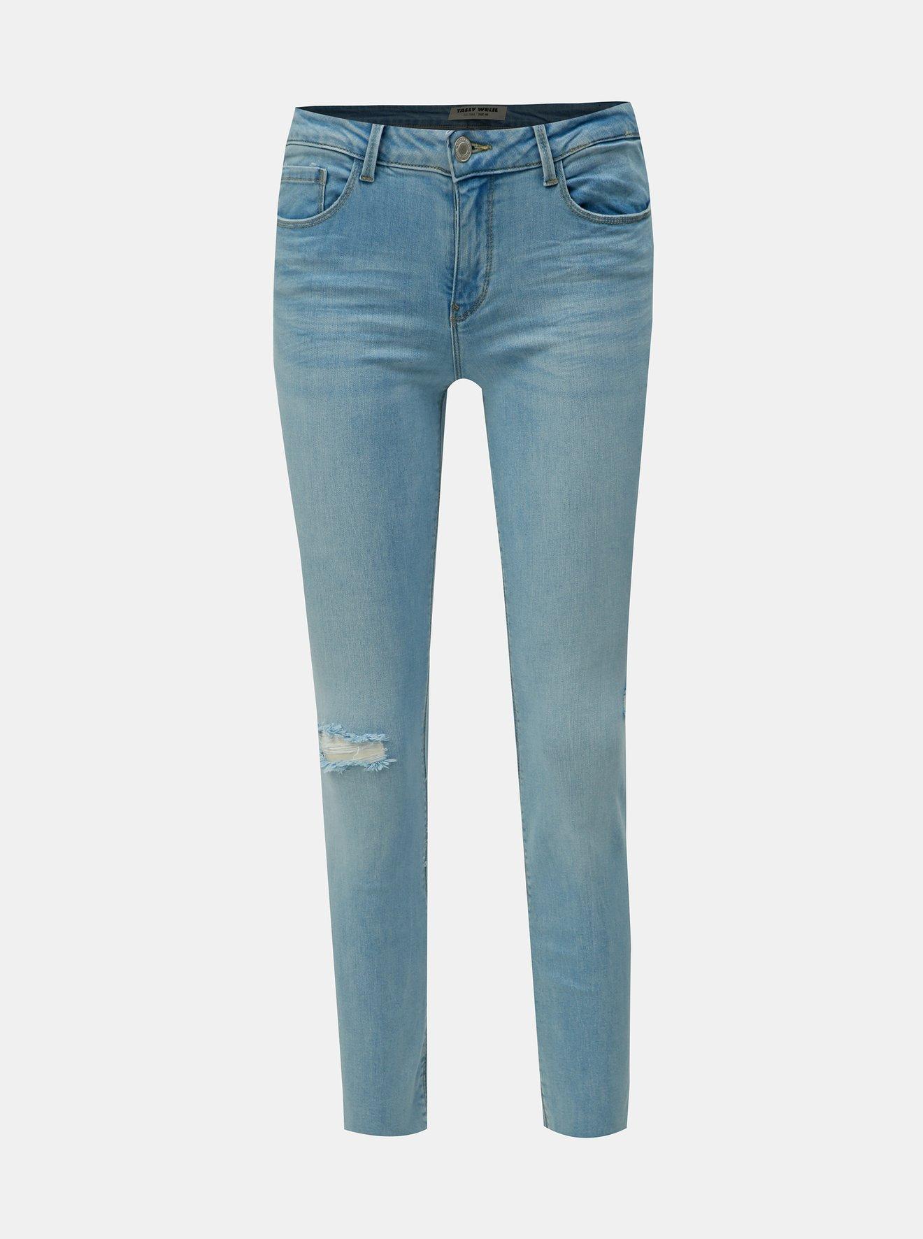 Světle modré slim fit džíny s potrhaným efektem TALLY WEiJL