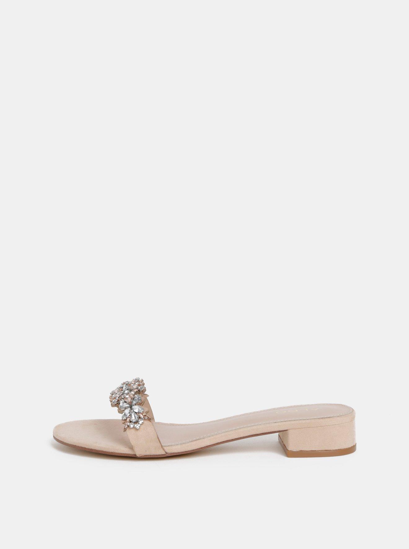 Světle růžové dámské pantofle s kamínky ALDO Eraesa