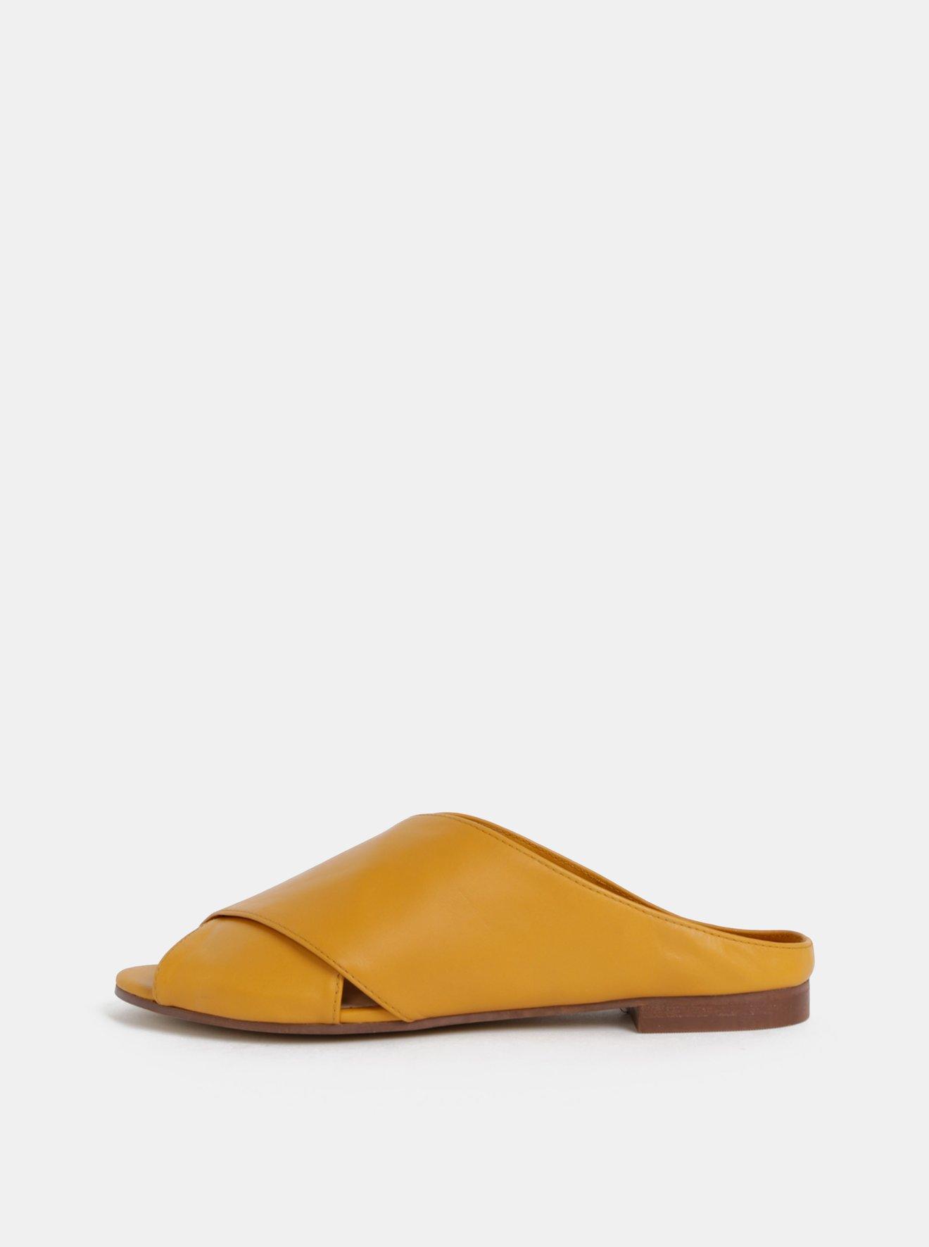 Hořčicové dámské kožené pantofle ALDO Rireviel