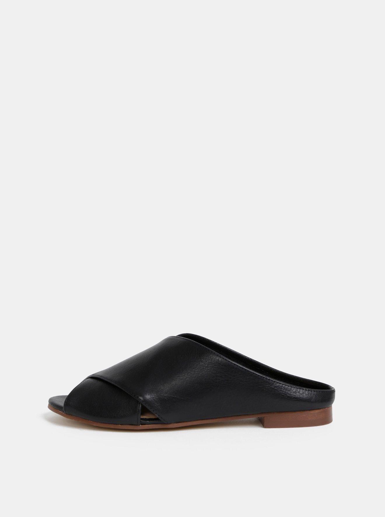 Černé dámské kožené pantofle ALDO Rireviel