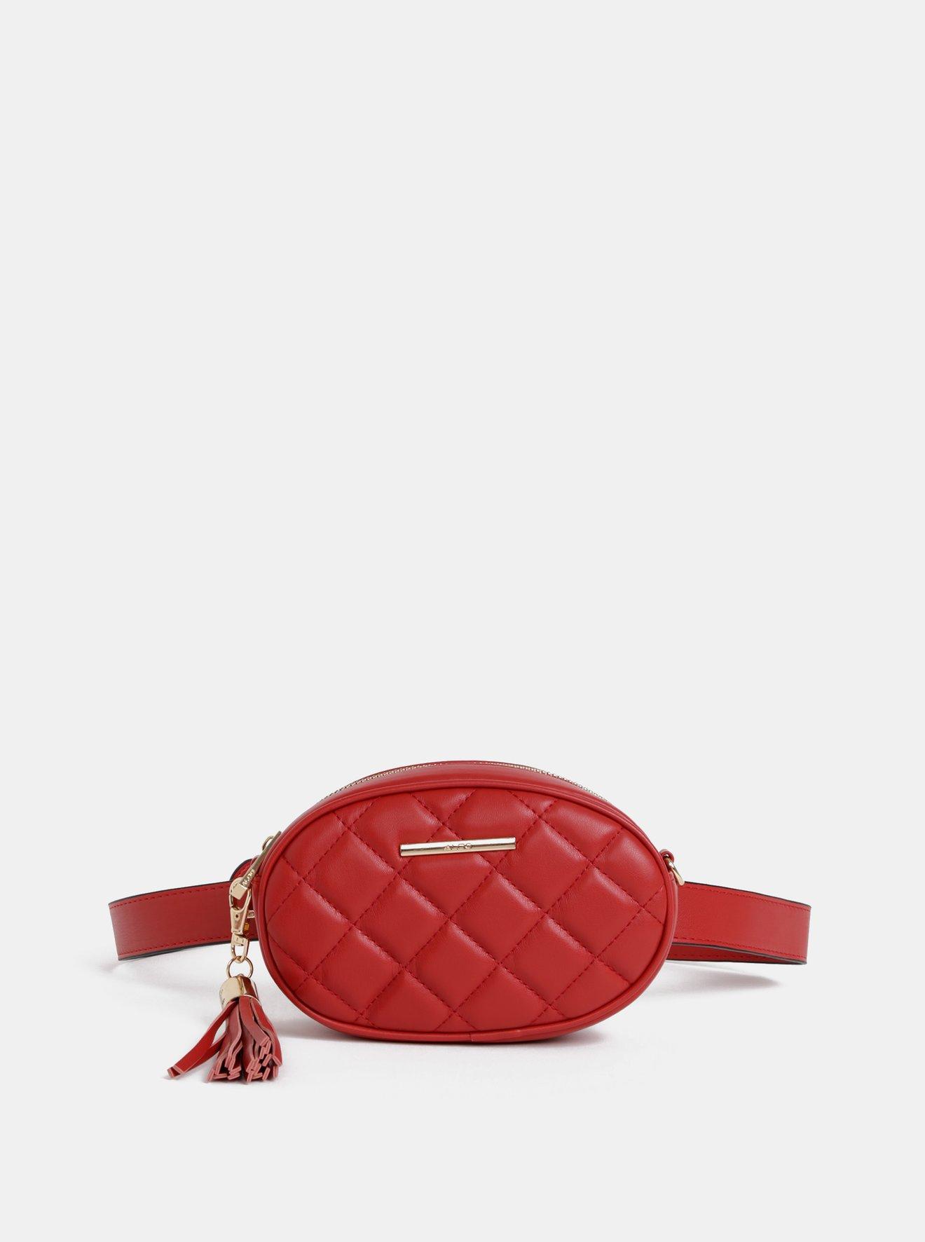 Červená ledvinka/crossbody kabelka se střapcem ALDO Pounce