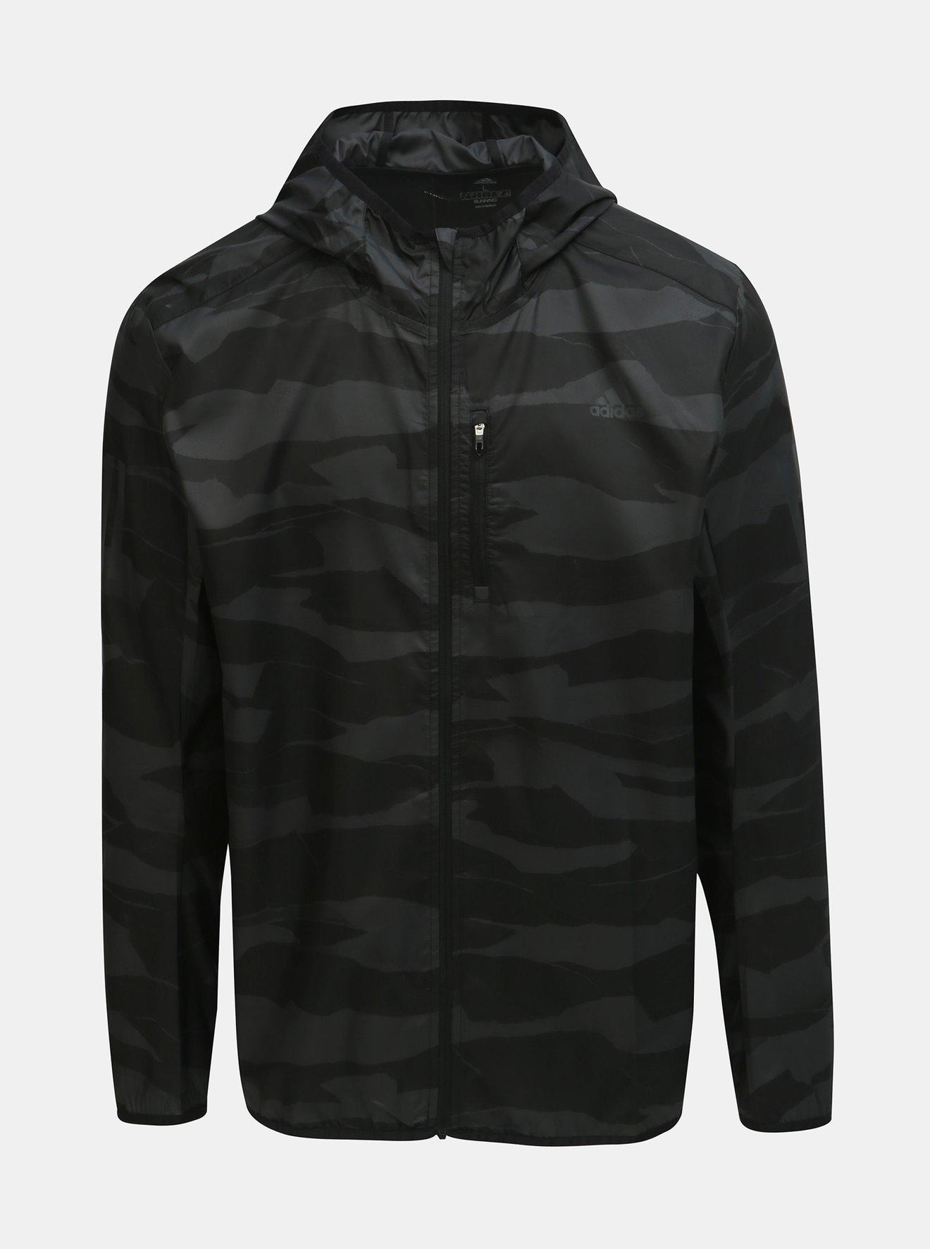 Šedo-černá pánská vzorovaná bunda adidas Performance Own The Run