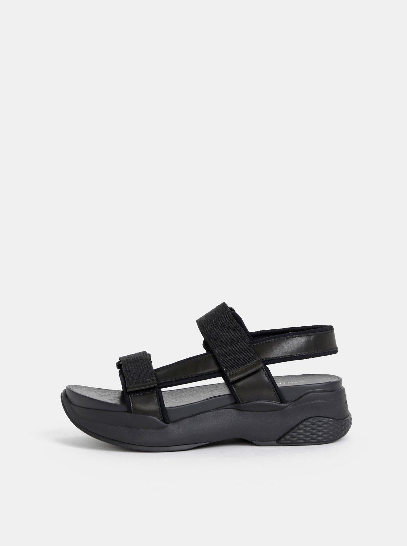 Černé dámské kožené sandály na platformě Vagabond Lori