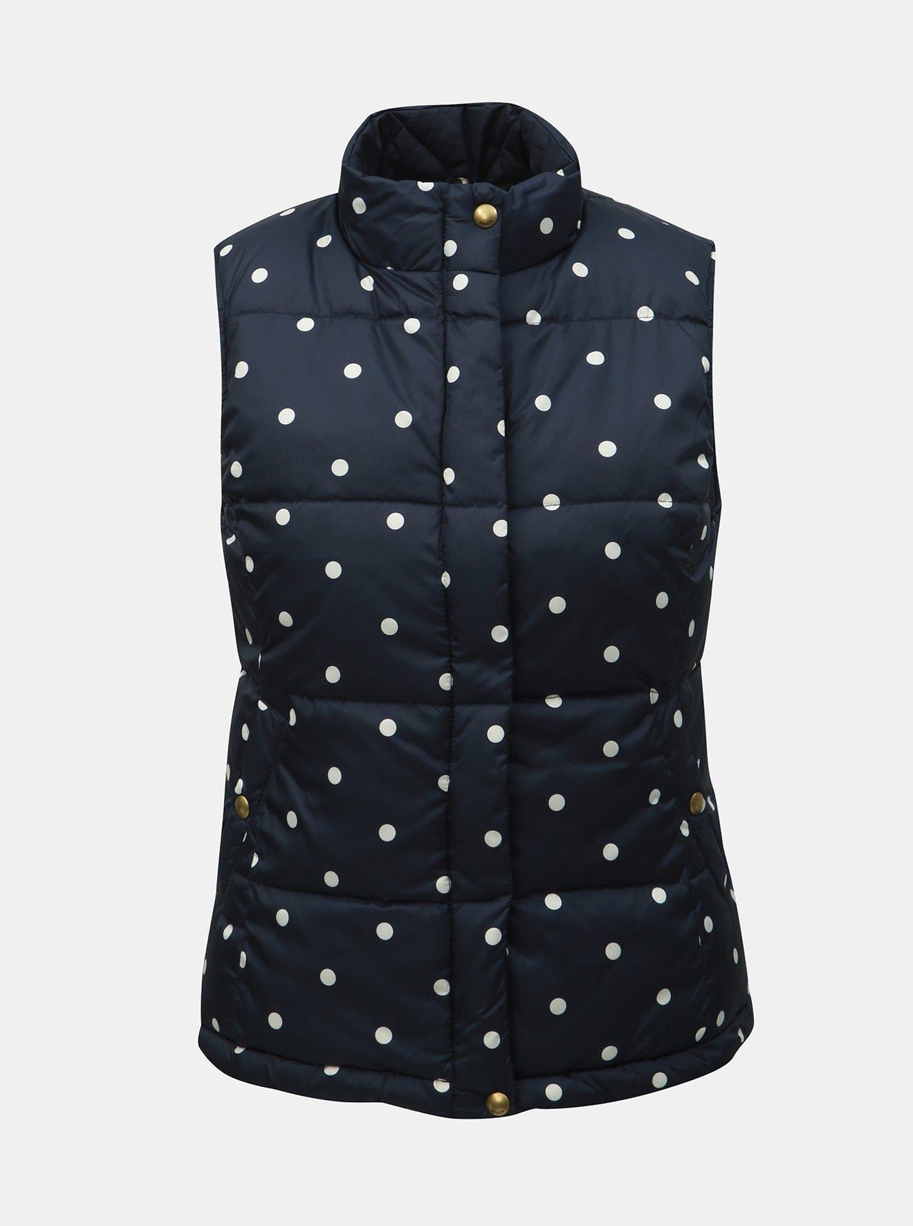 Tmavě modrá dámská puntíkovaná oboustranná prošívaná vesta Tom Joule